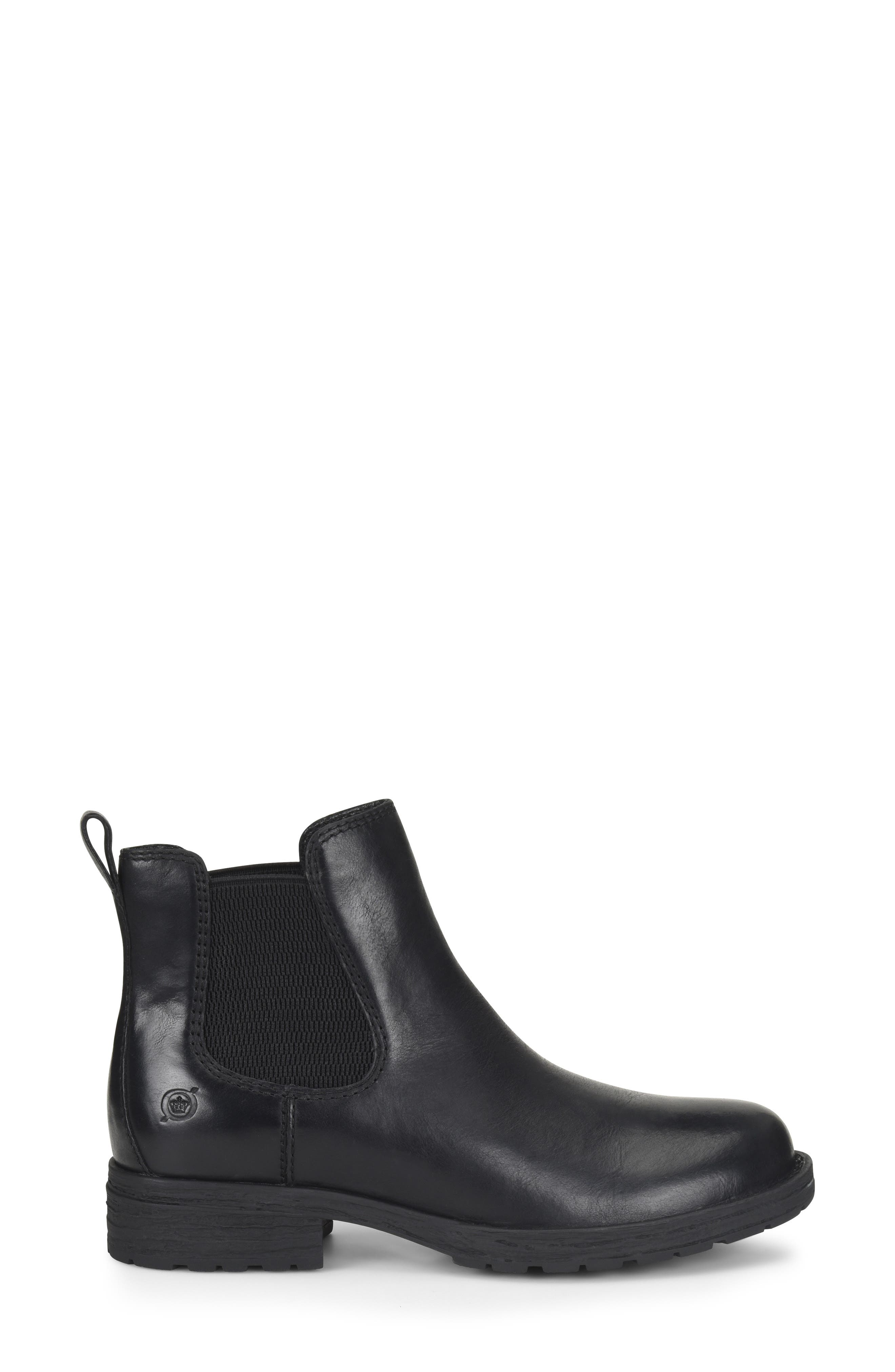 BØRN, Cove Waterproof Chelsea Boot, Alternate thumbnail 3, color, BLACK DISTRESSED LEATHER