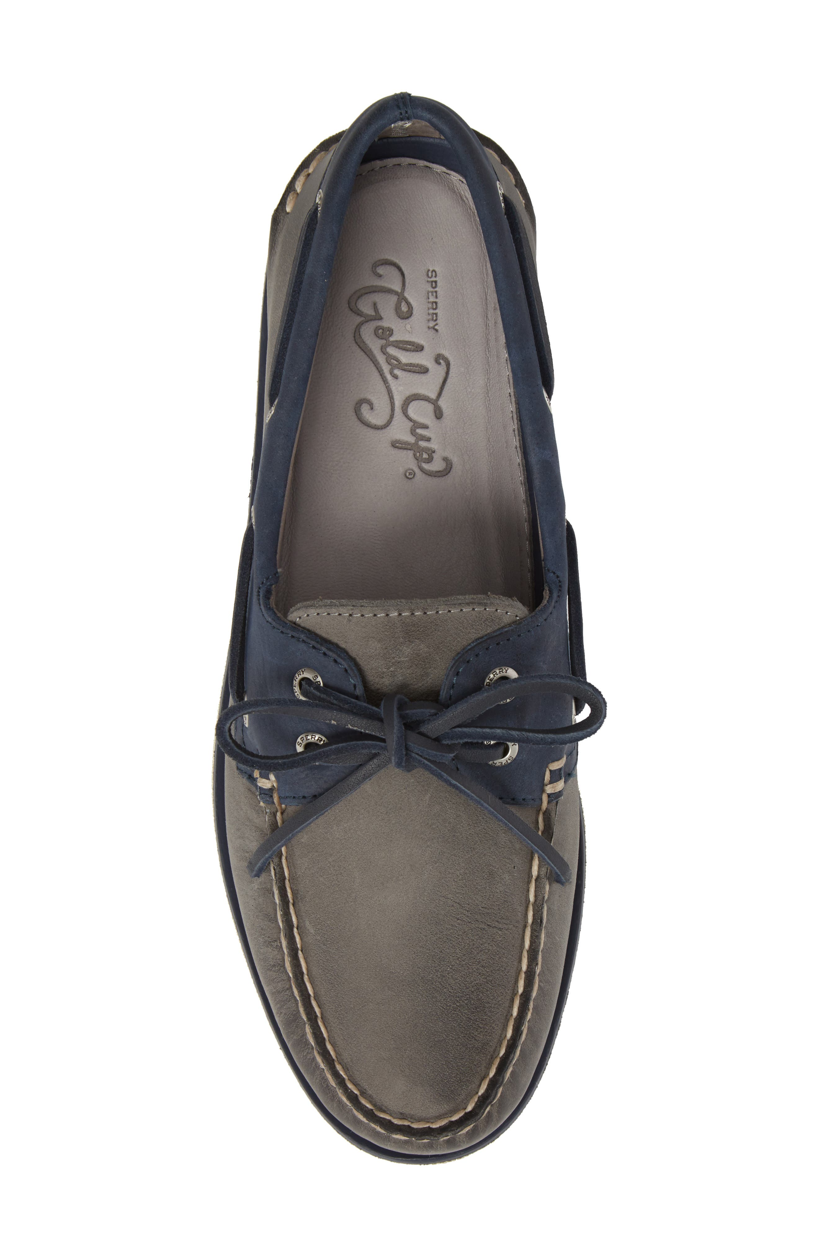 SPERRY, Gold Cup Authentic Original Boat Shoe, Alternate thumbnail 5, color, GREY/ NAVY LEATHER