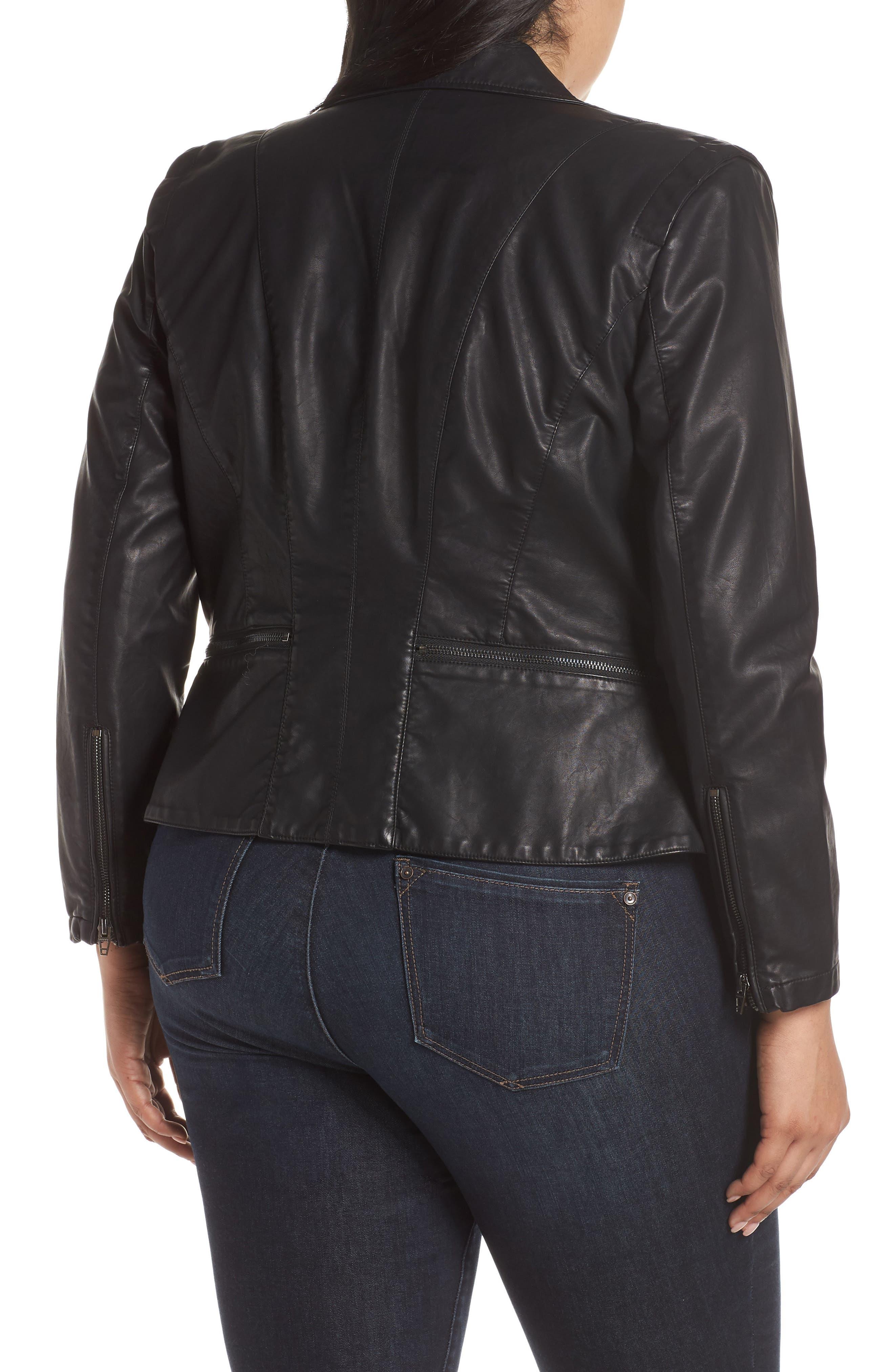 BLANKNYC, Faux Leather Moto Jacket, Alternate thumbnail 9, color, BLACK