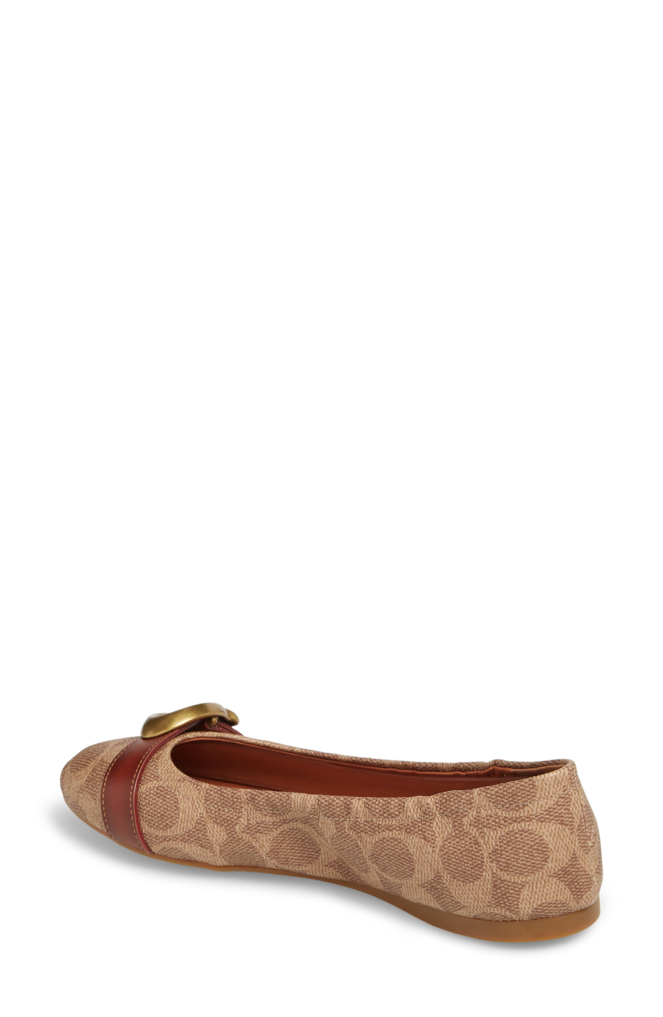 COACH, Stanton Buckle Flat, Alternate thumbnail 2, color, BROWN LEATHER
