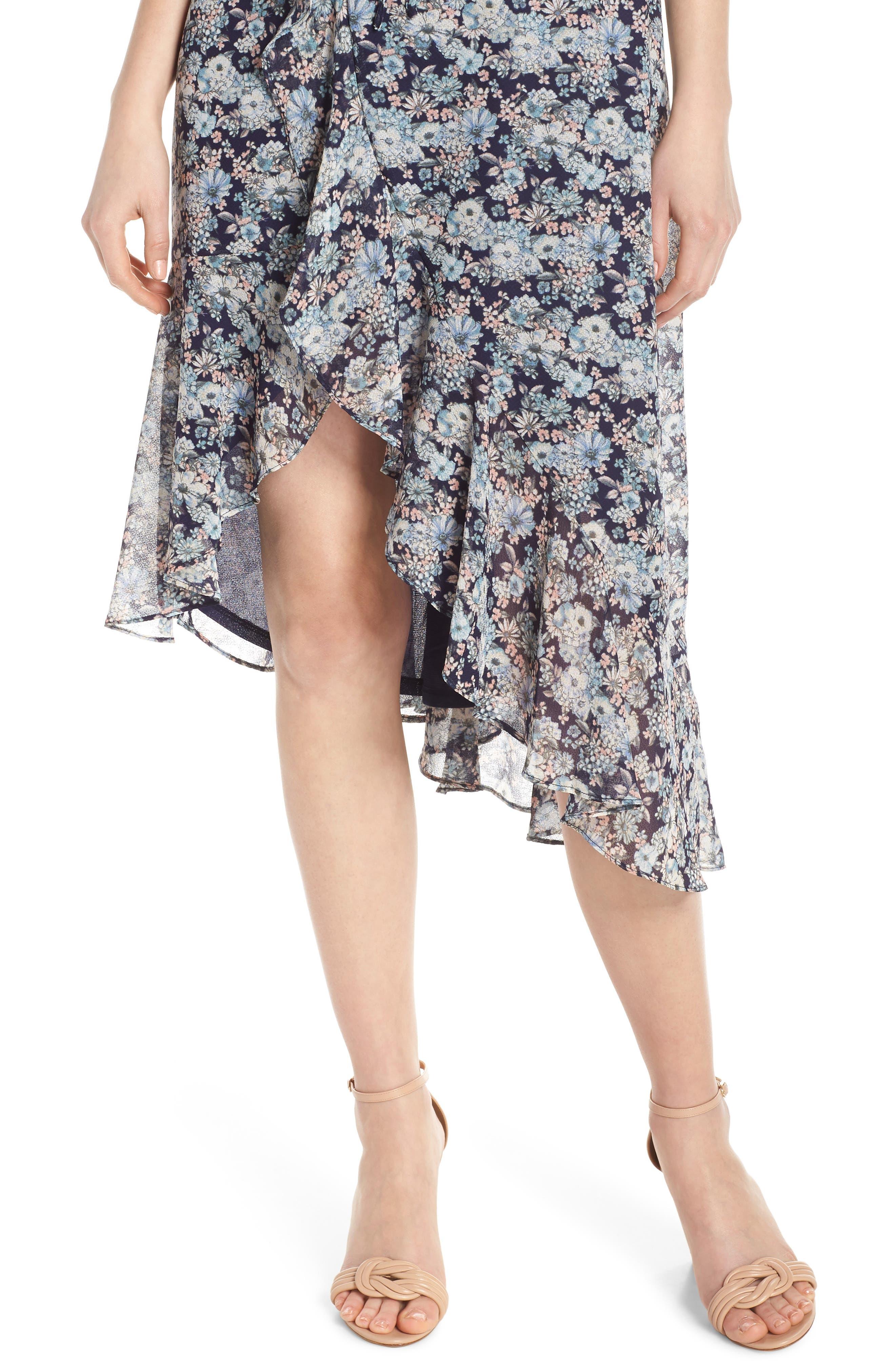 19 COOPER, Asymmetrical Ruffle Hem Dress, Alternate thumbnail 5, color, 410