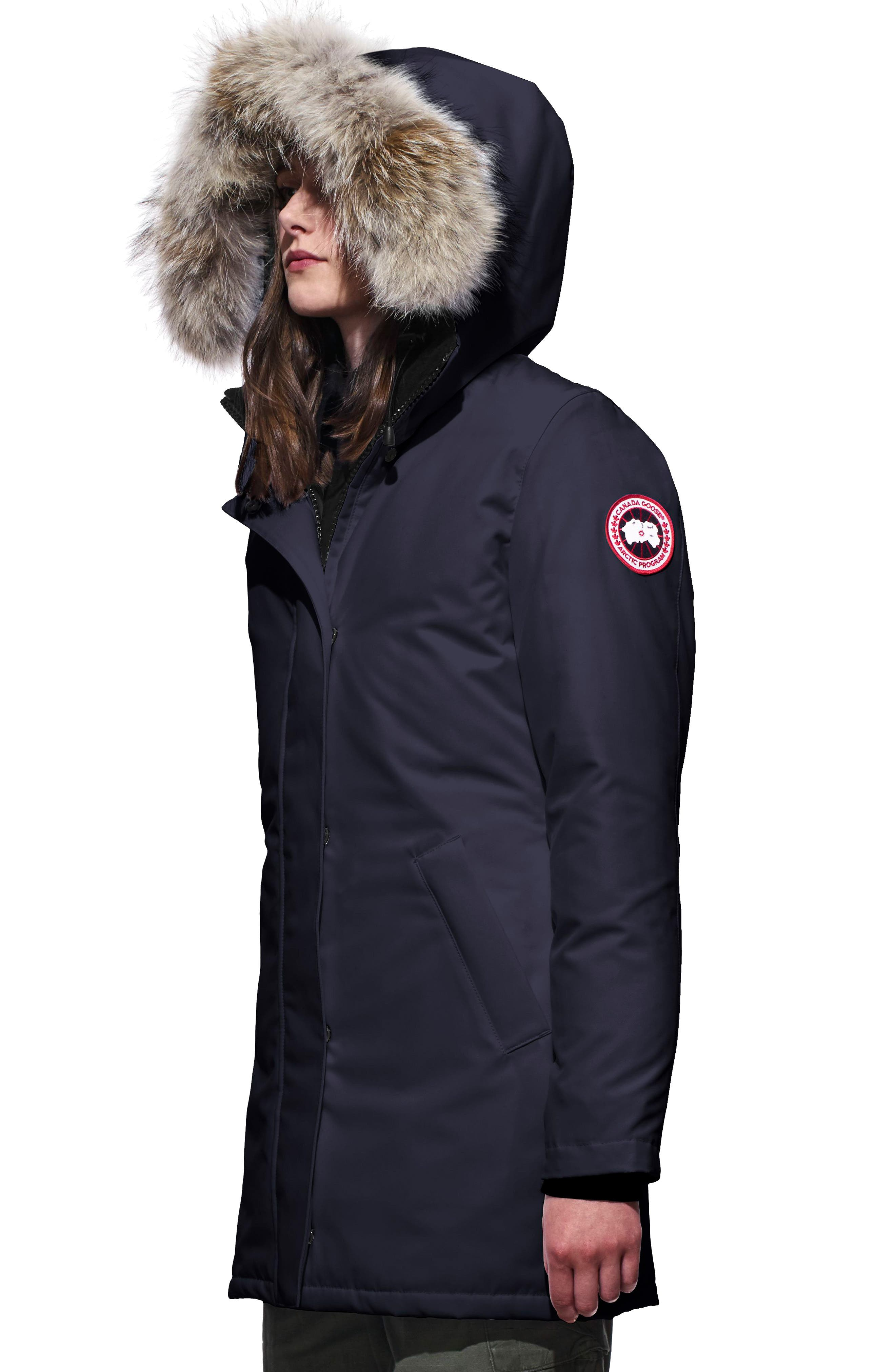 CANADA GOOSE, Victoria Down Parka with Genuine Coyote Fur Trim, Alternate thumbnail 4, color, ADMIRAL BLUE
