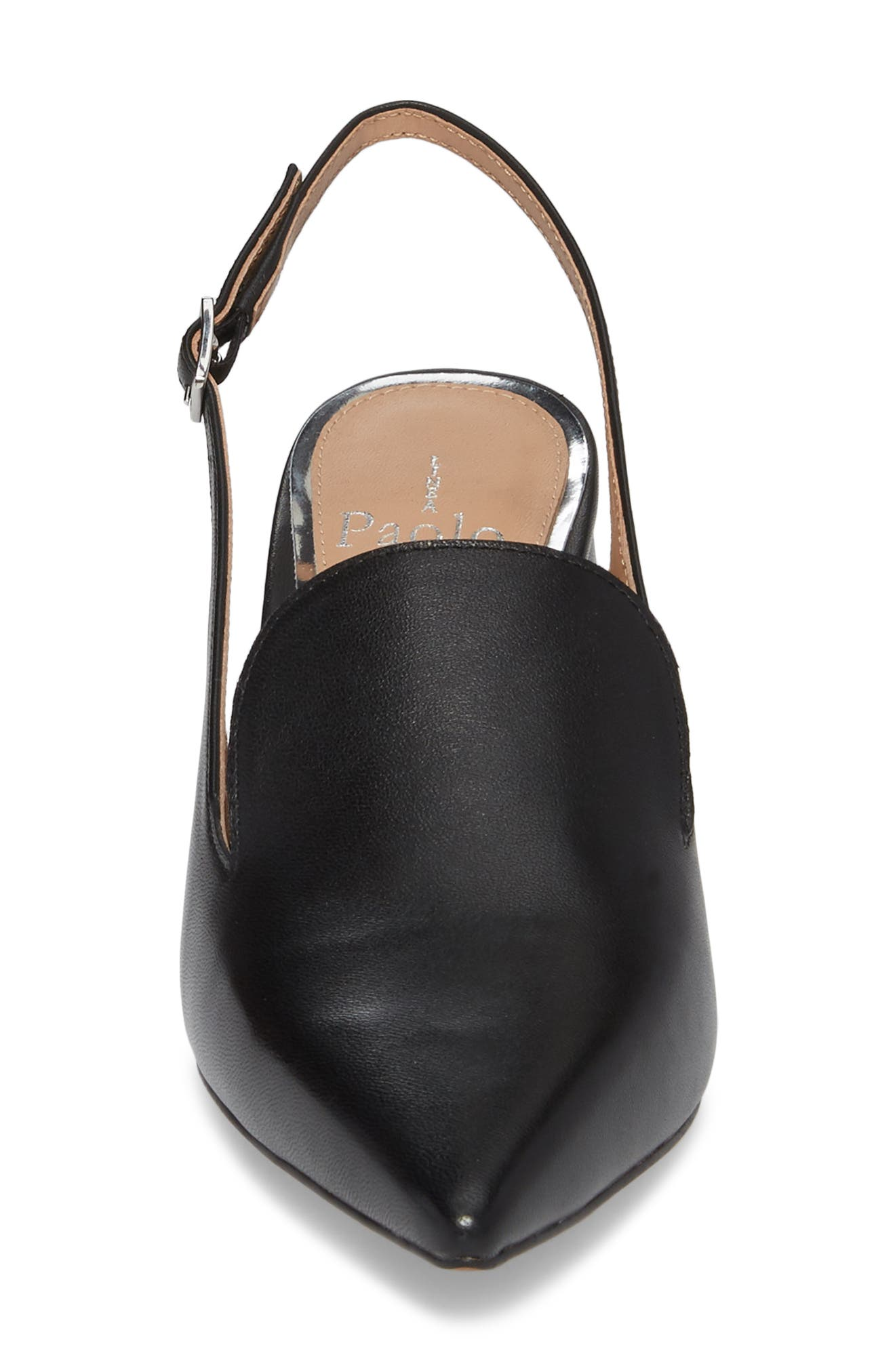 LINEA PAOLO, Carly Slingback Pump, Alternate thumbnail 4, color, BLACK LEATHER
