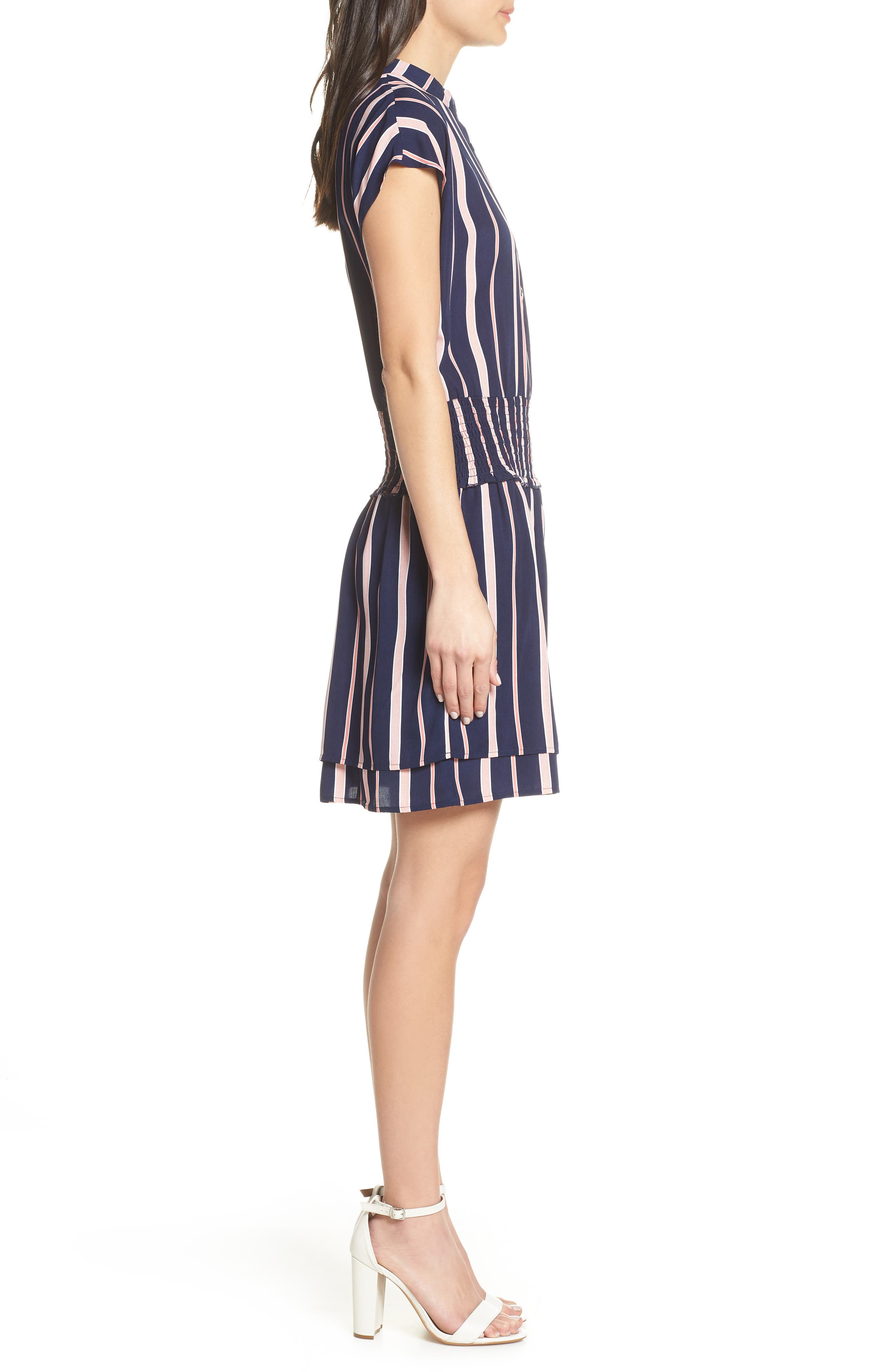 CHARLES HENRY, Smocked Stripe Dress, Alternate thumbnail 4, color, NAVY/ PINK STRIPE