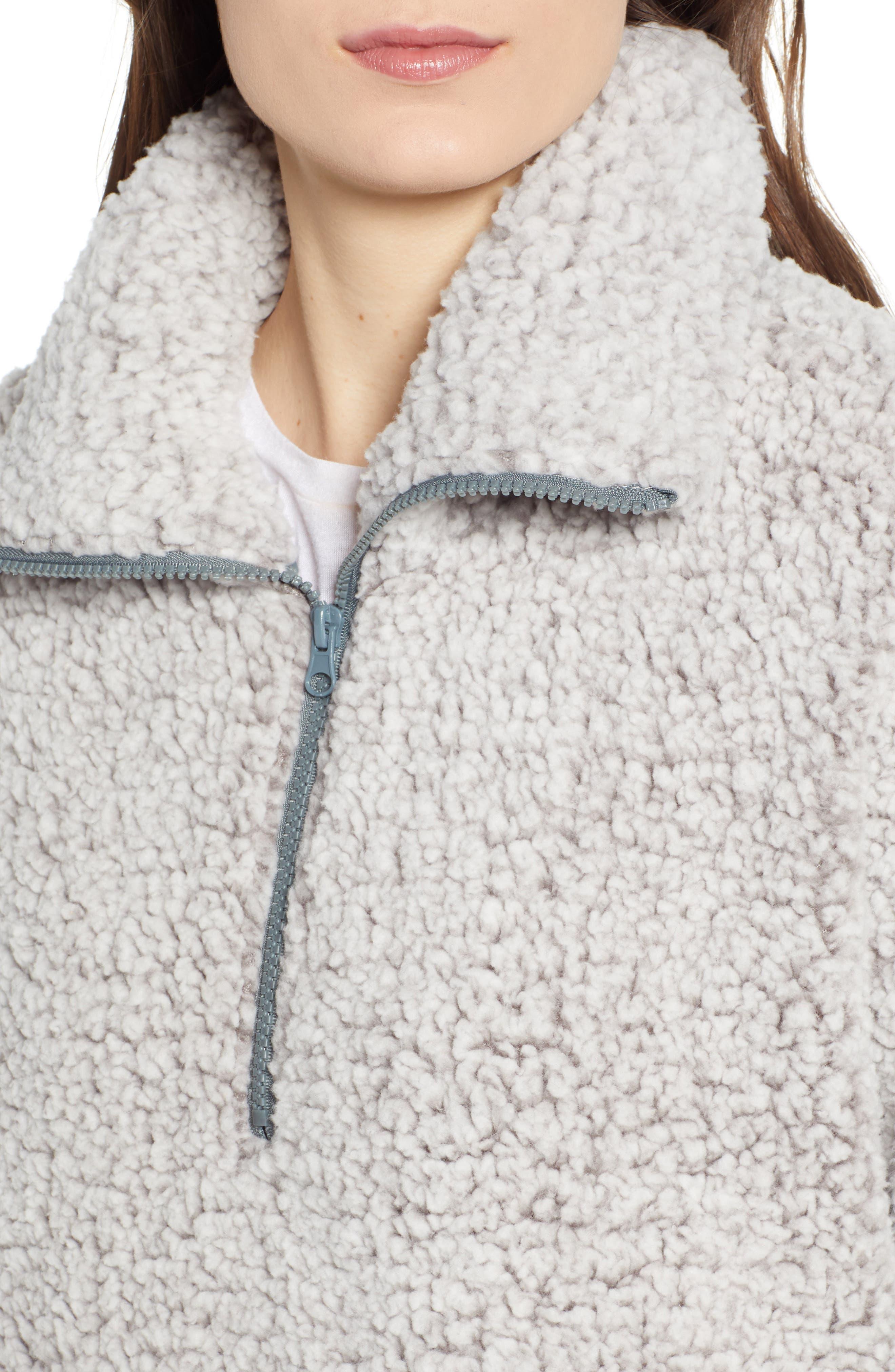 THREAD & SUPPLY, Quarter Zip Fleece Pullover, Alternate thumbnail 5, color, SILVER