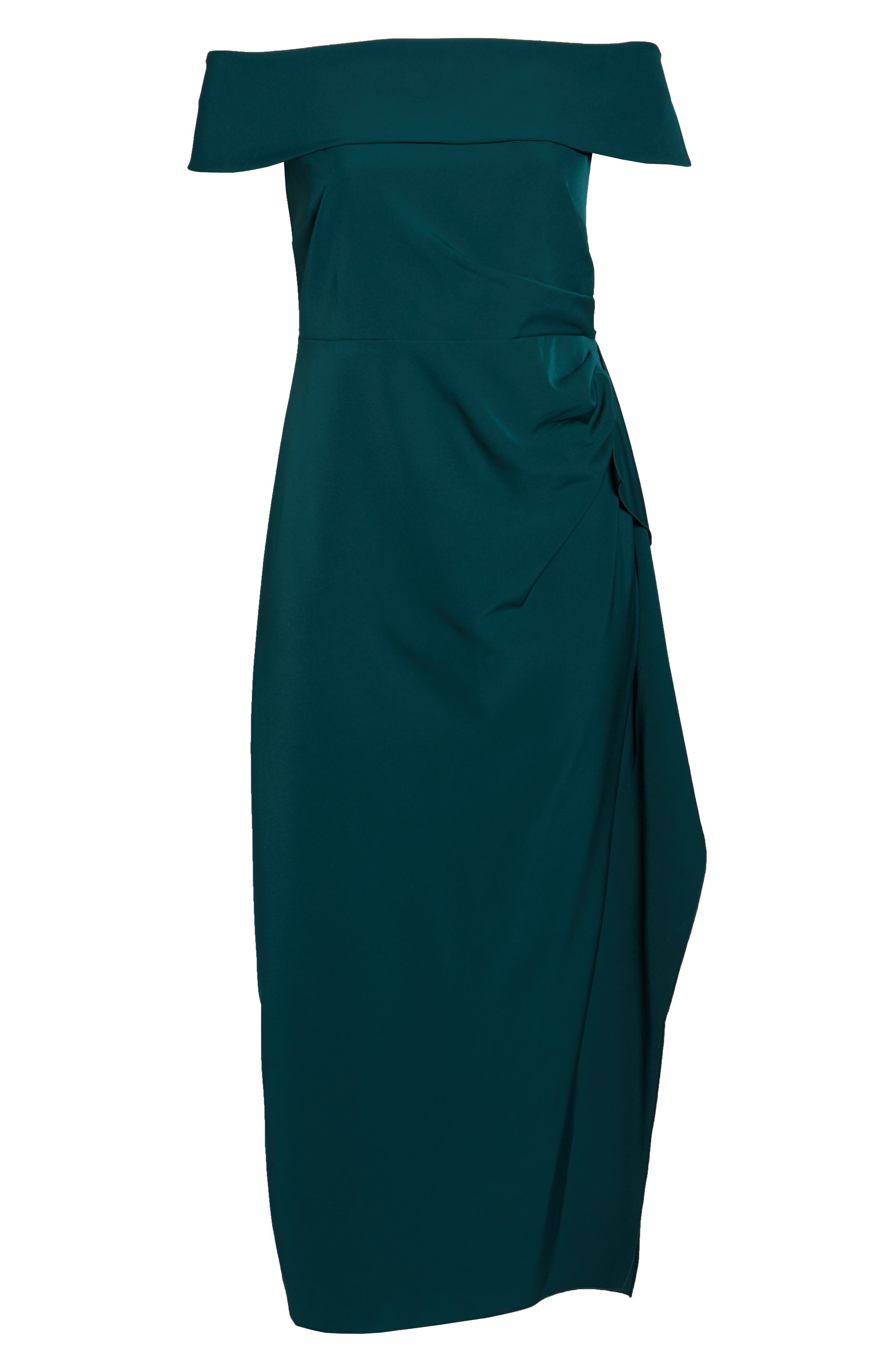 VINCE CAMUTO, Side Ruched Off the Shoulder Gown, Alternate thumbnail 7, color, 301