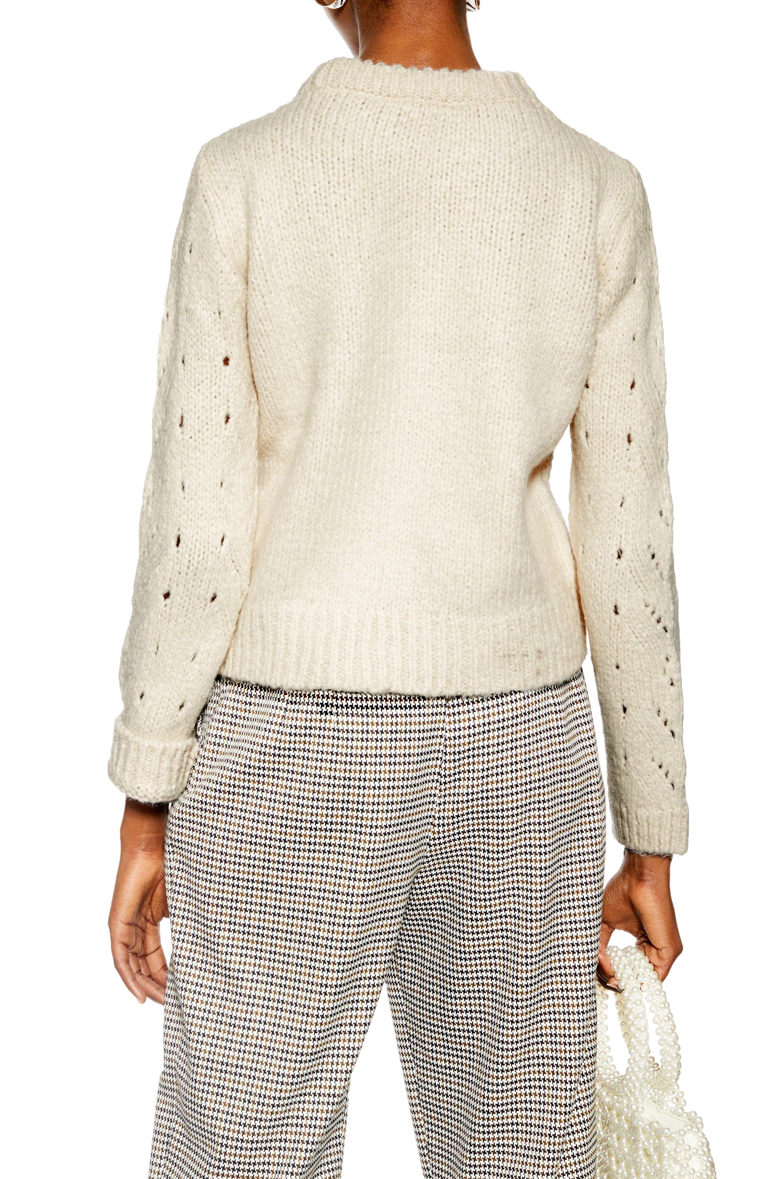 TOPSHOP, Pointelle Lace Sweater, Alternate thumbnail 2, color, IVORY