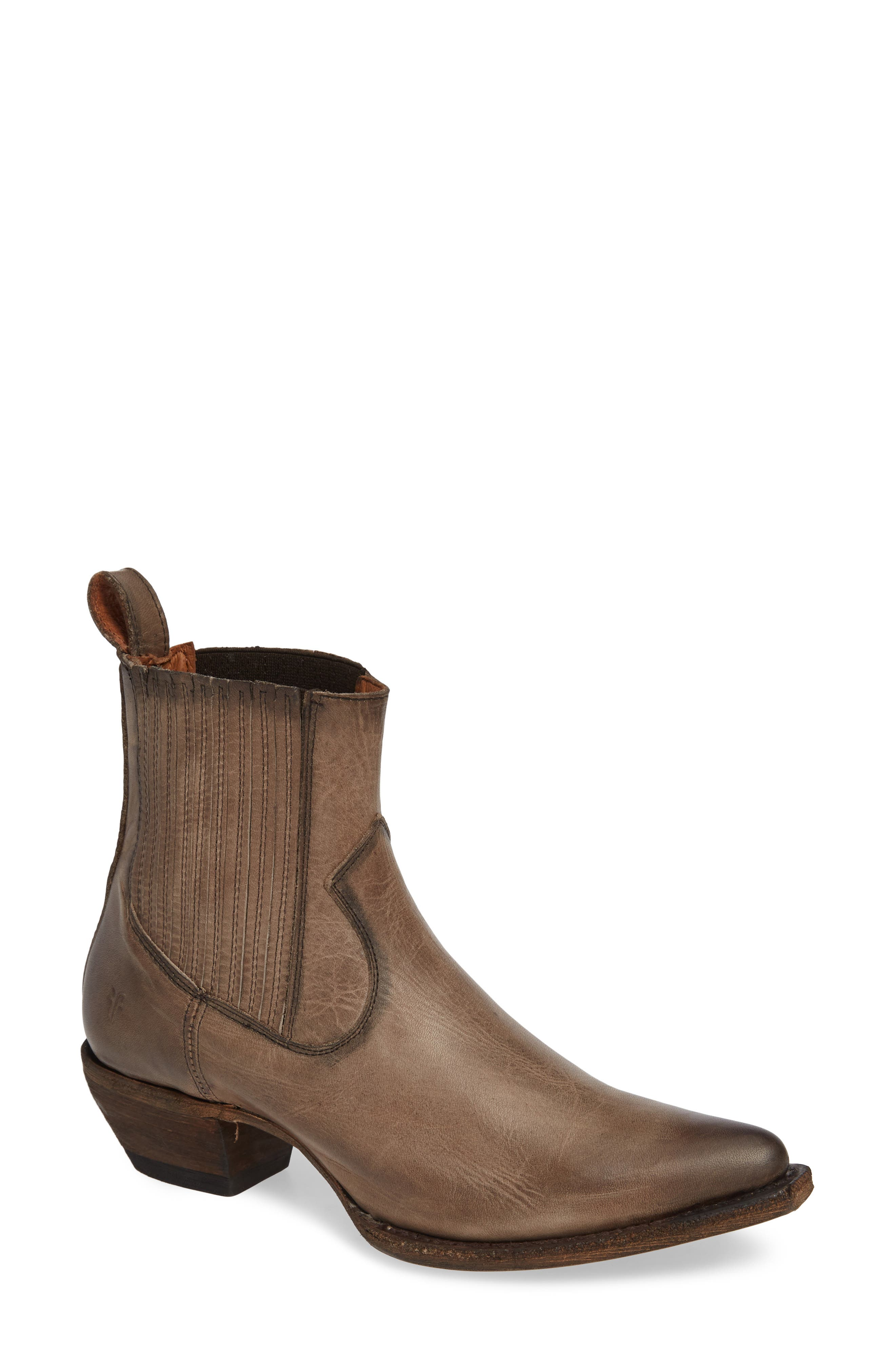 FRYE, Sacha Western Bootie, Main thumbnail 1, color, STONE LEATHER