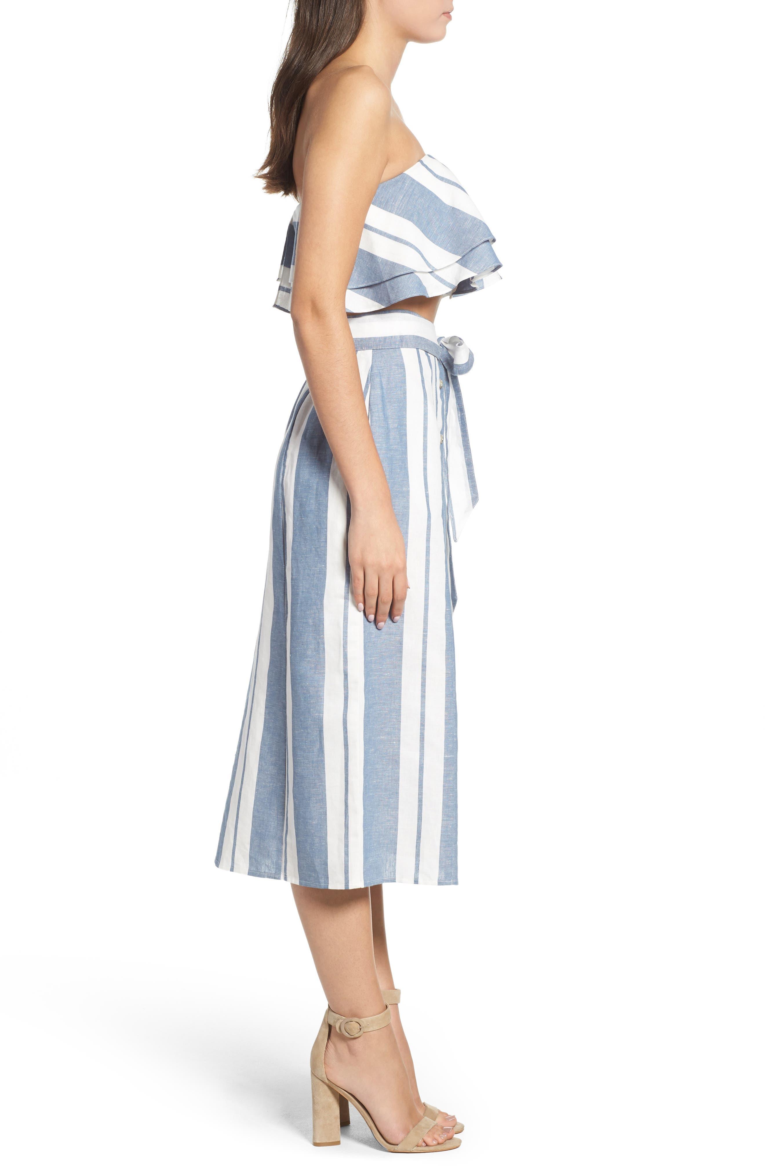 WAYF, Stripe Midi Skirt, Alternate thumbnail 9, color, 400