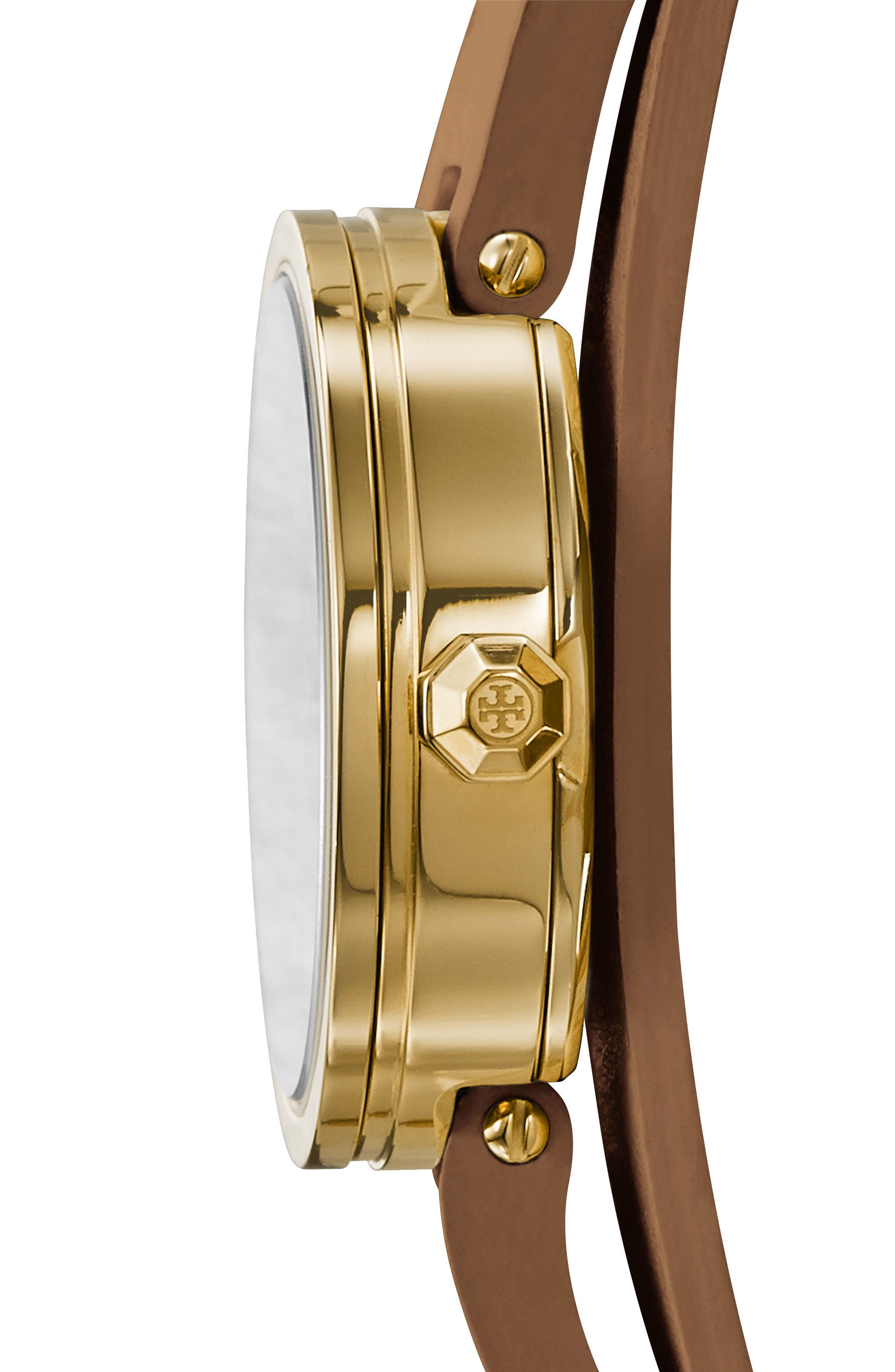 TORY BURCH, Reva Logo Dial Double Wrap Leather Strap Watch, 28mm, Alternate thumbnail 2, color, LUGGAGE/ IVORY/ GOLD