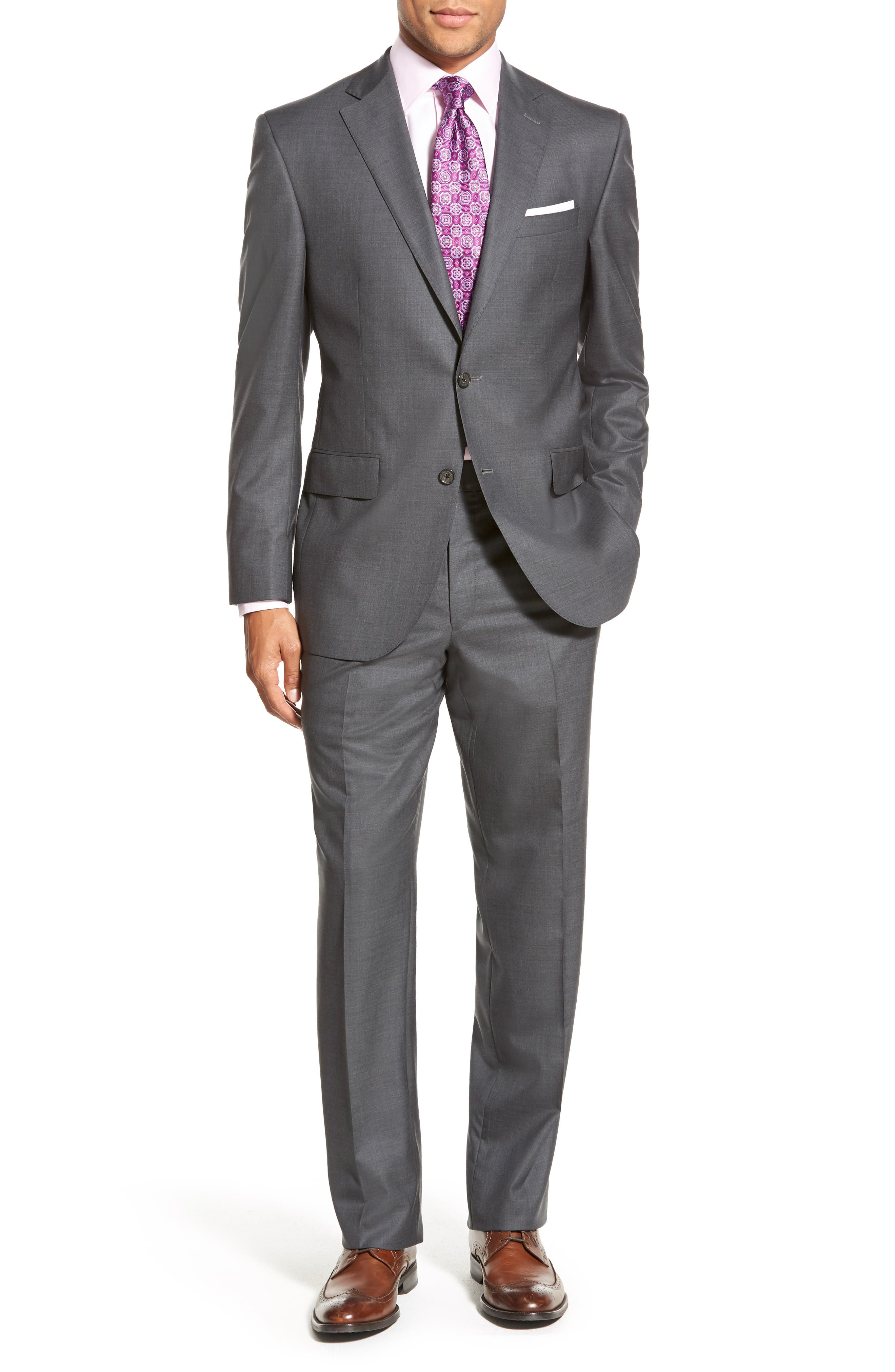 DAVID DONAHUE, Ryan Classic Fit Solid Wool Suit, Alternate thumbnail 5, color, GREY