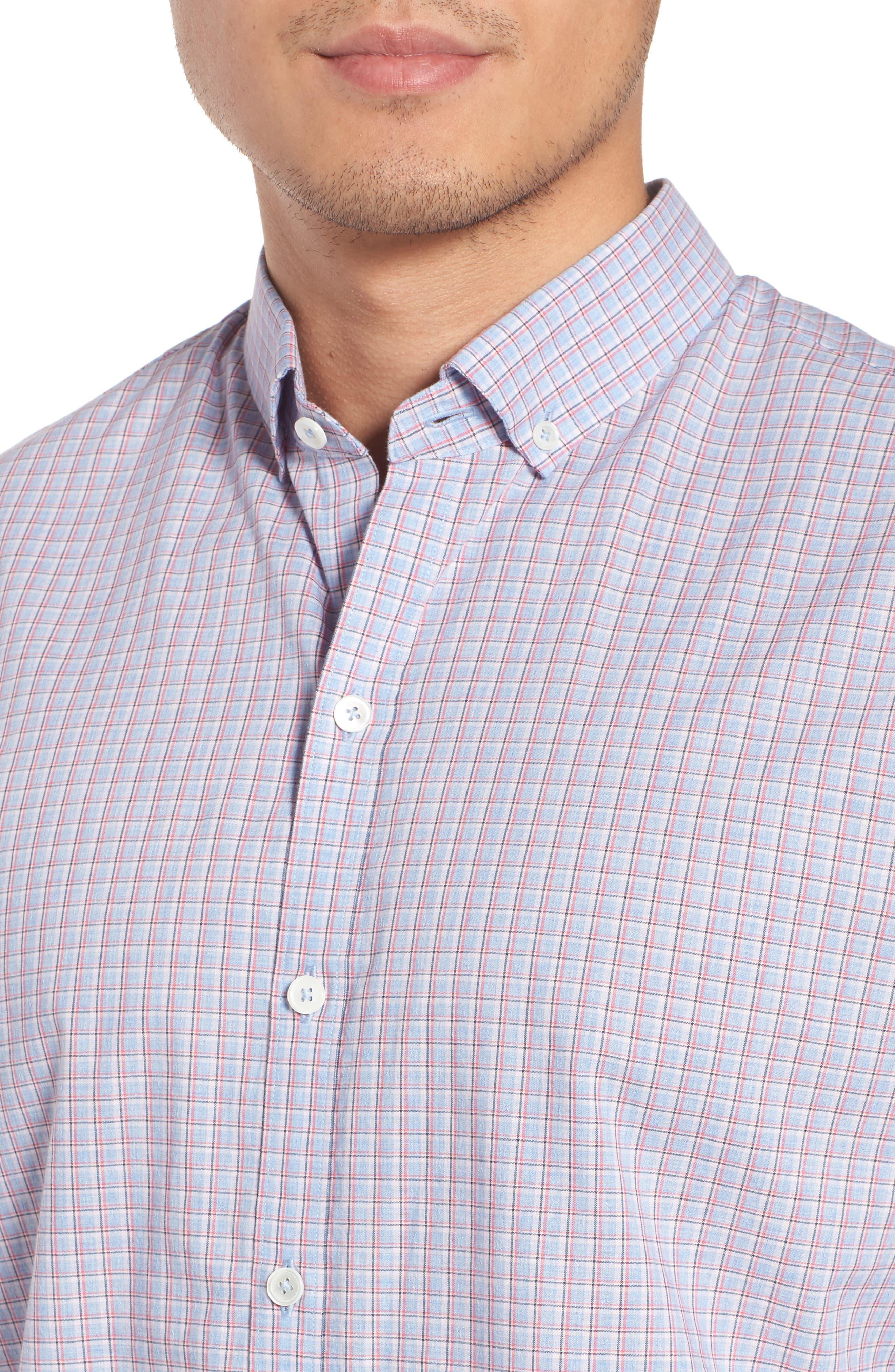 ZACHARY PRELL, Drozdov Regular Fit Plaid Sport Shirt, Alternate thumbnail 4, color, PINK