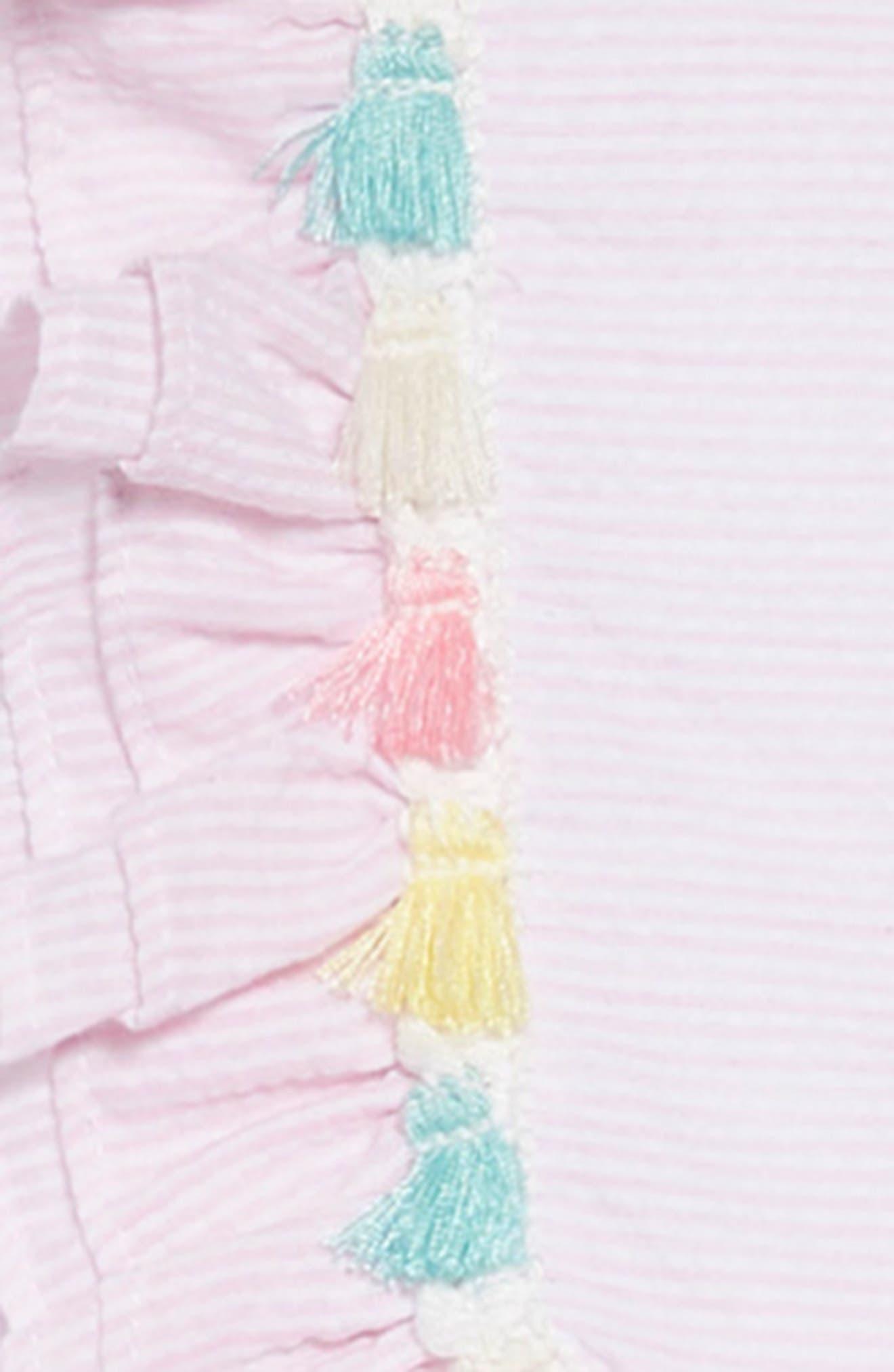 PIPPA & JULIE, Tassel Trim Seersucker Dress, Alternate thumbnail 4, color, 650