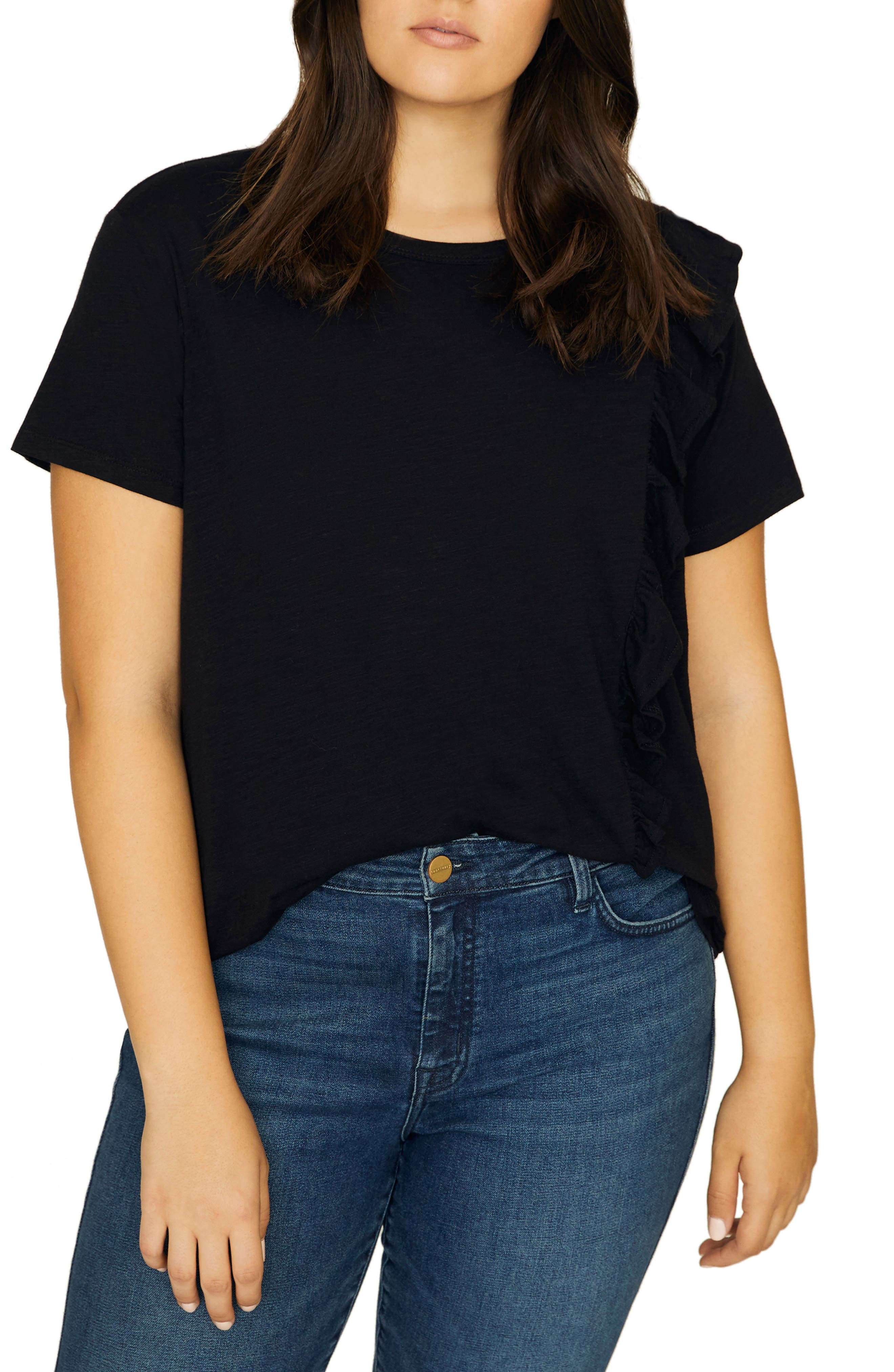 SANCTUARY, Gia Ruffle Trim Tee, Main thumbnail 1, color, BLACK