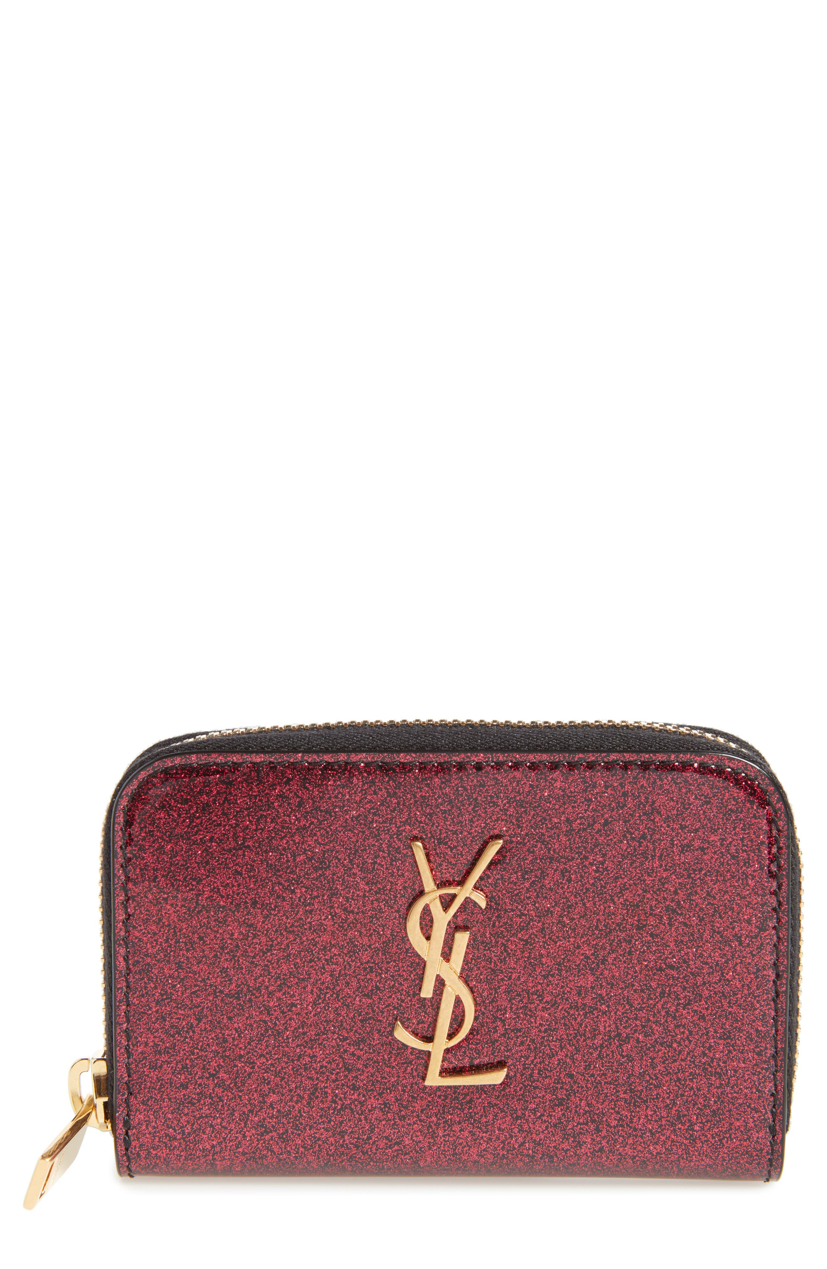 SAINT LAURENT, Glitter Calfskin Leather Wallet, Main thumbnail 1, color, SHOCKING PINK/ NOIR