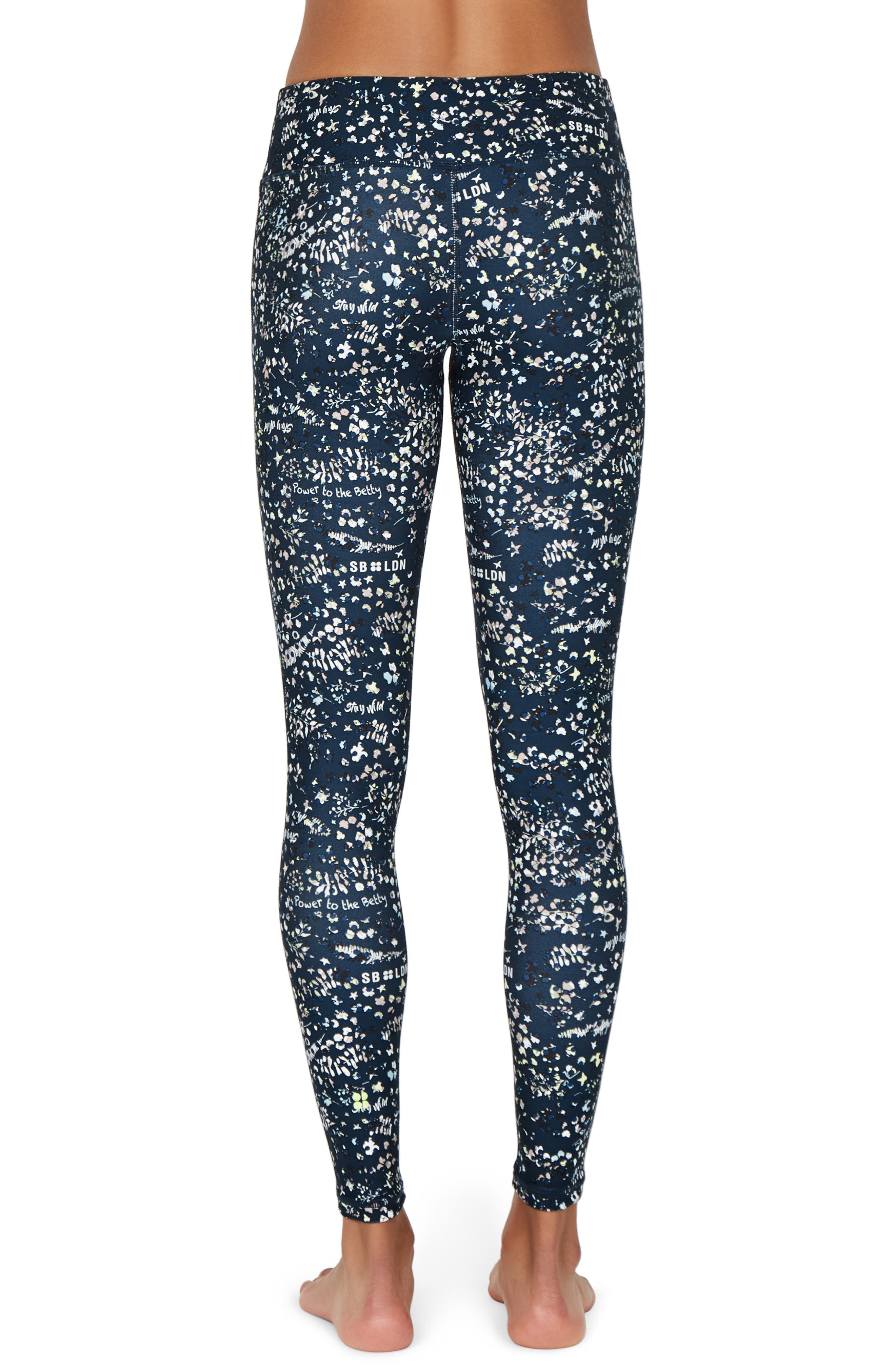 SWEATY BETTY, Contour Leggings, Alternate thumbnail 2, color, BEETLE BLUE STAY WILD PRINT