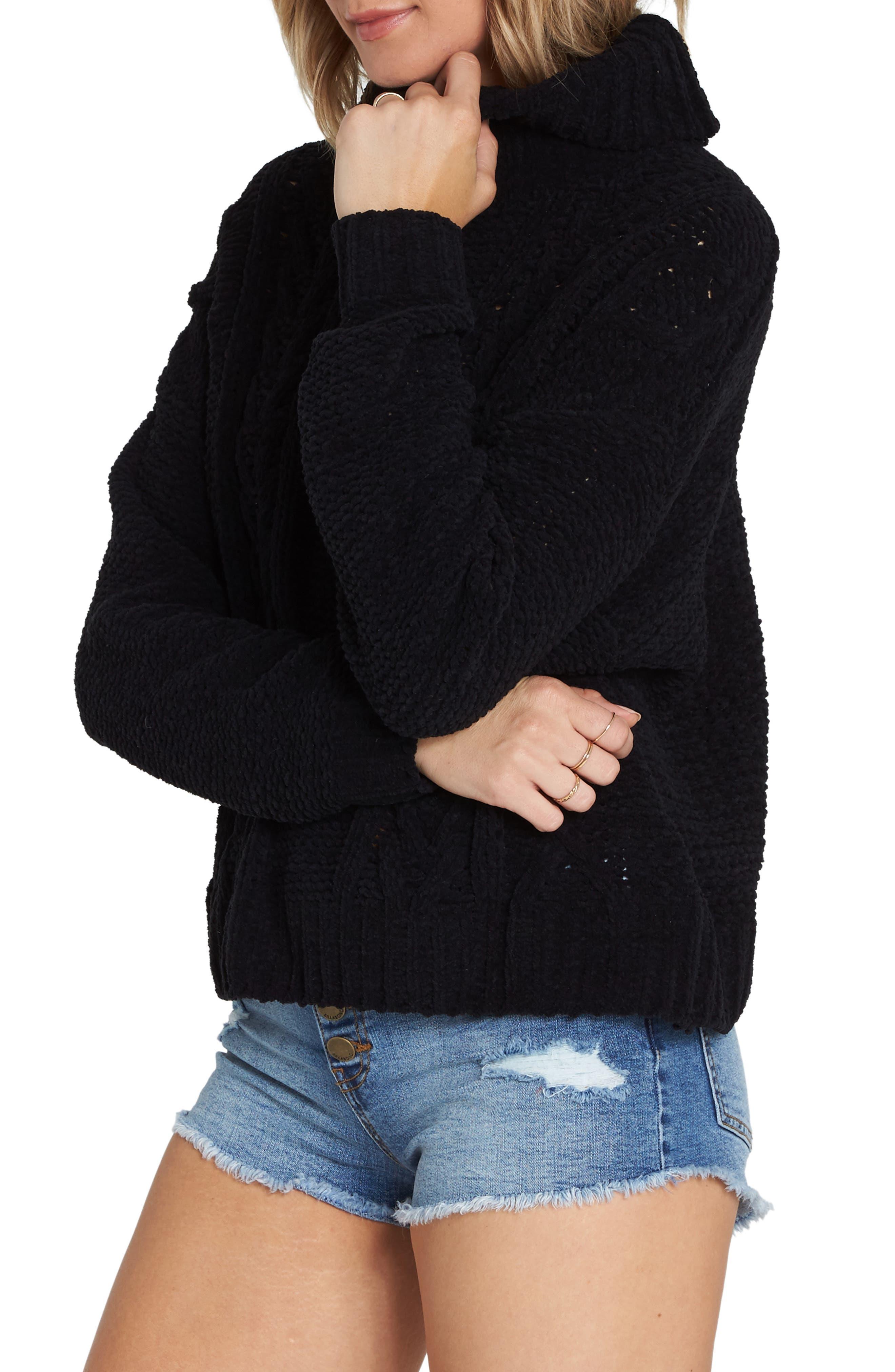 BILLABONG, Cable Knit Turtleneck Sweater, Alternate thumbnail 3, color, 001