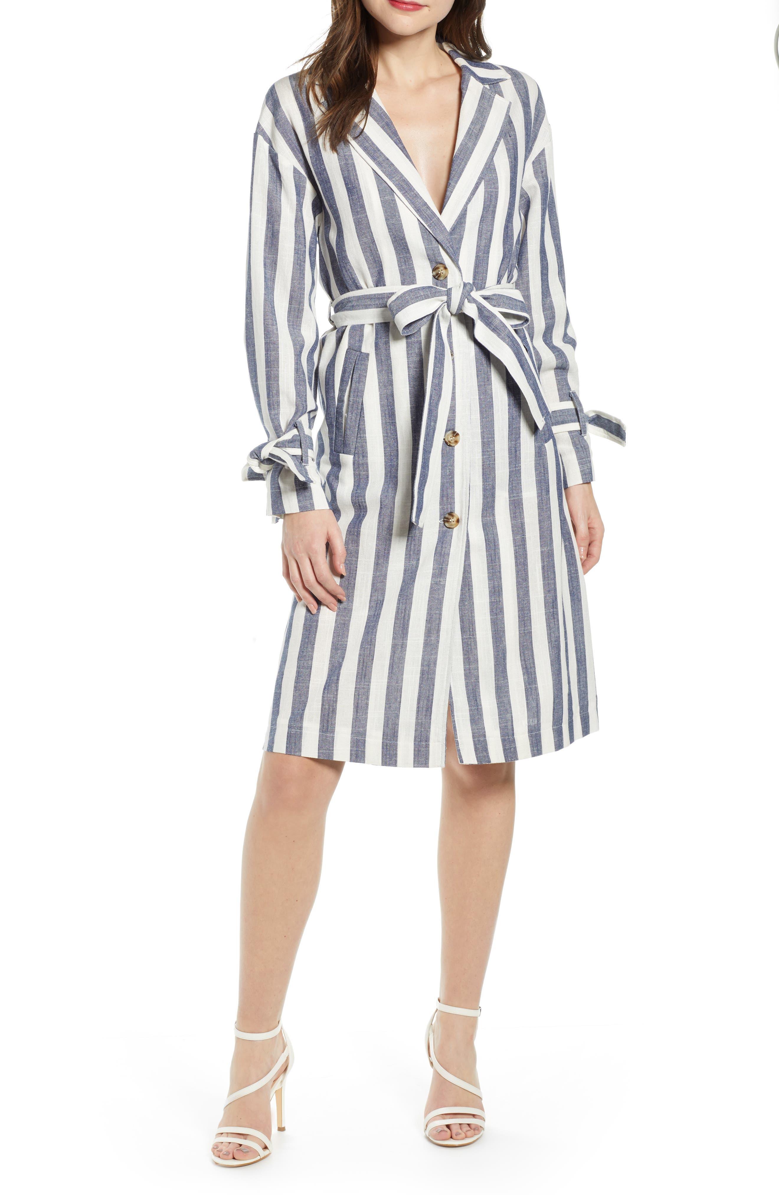 J.O.A., Stripe Cotton & Linen Shirtdress, Main thumbnail 1, color, NAVY/ WHITE STRIPE