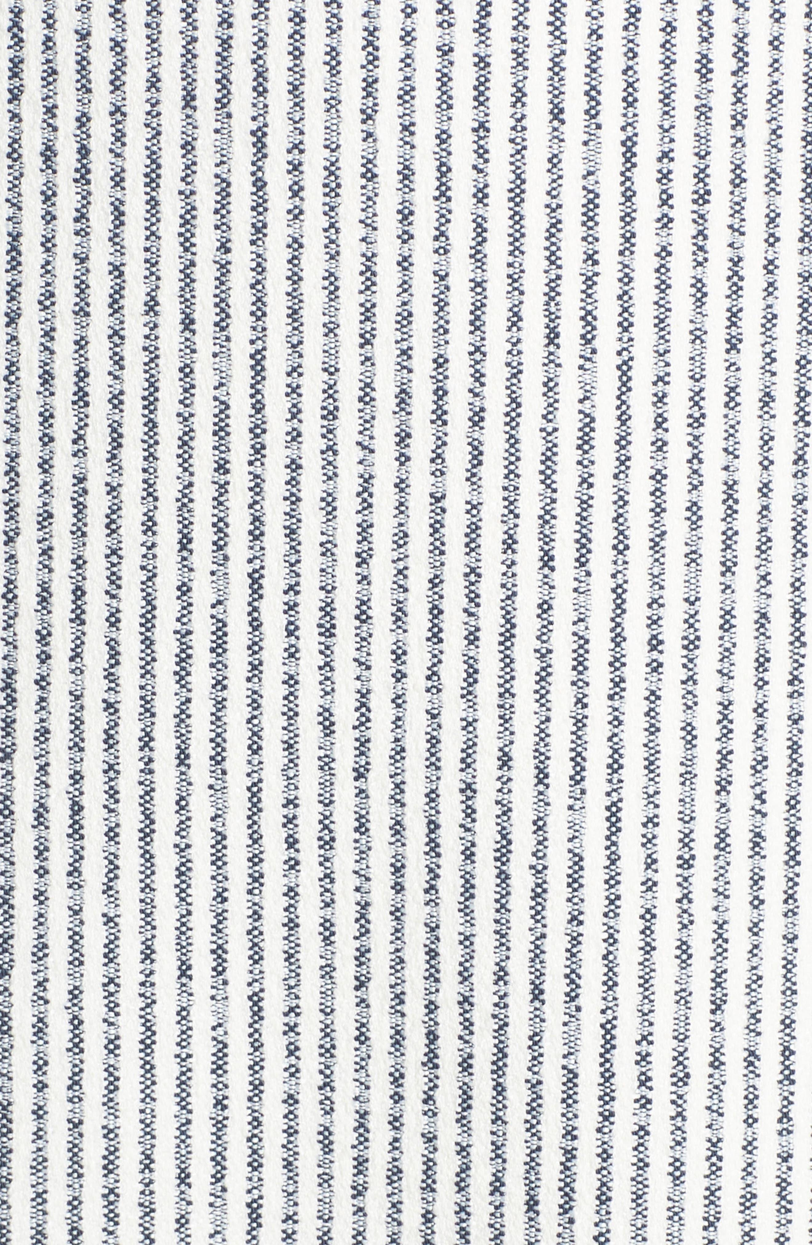CHARLES HENRY, Fringe Trim Stripe Shift Dress, Alternate thumbnail 6, color, NAVY WHITE STRIPE
