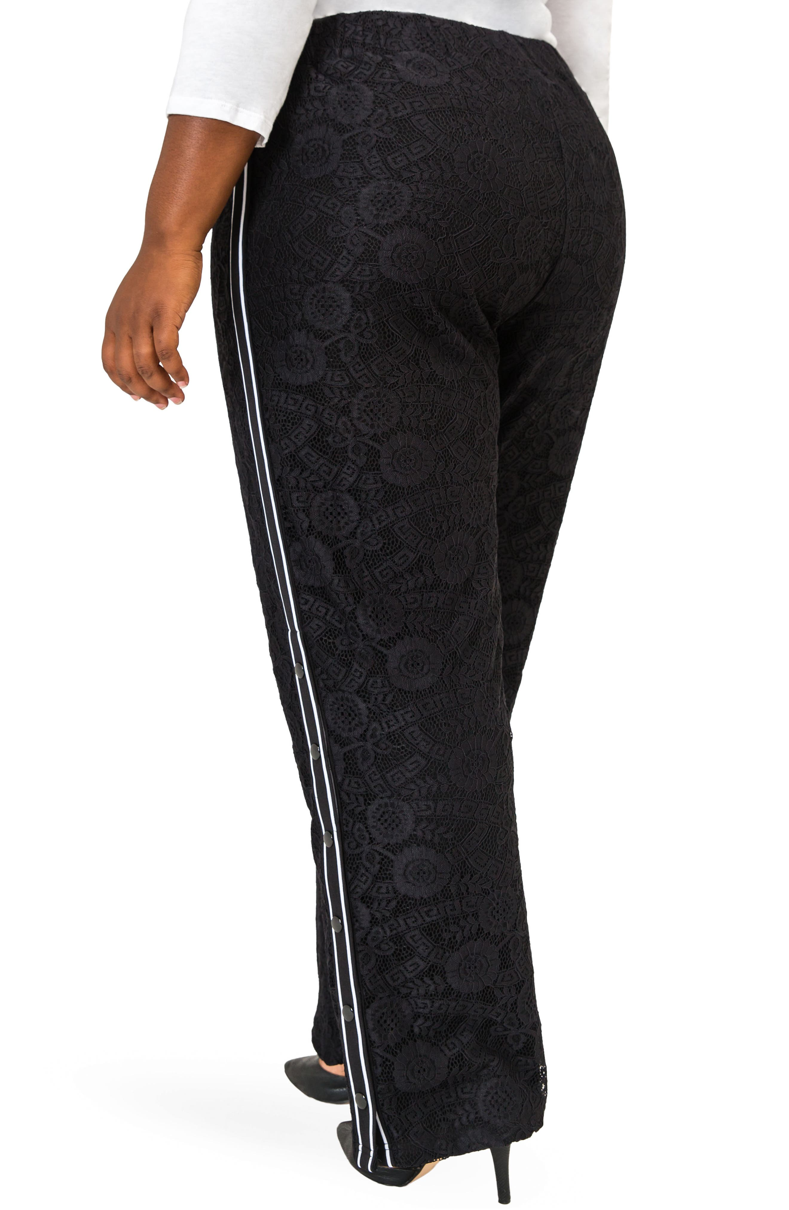 POETIC JUSTICE, Cornella High Rise Lace Knit Track Pants, Alternate thumbnail 2, color, BLACK