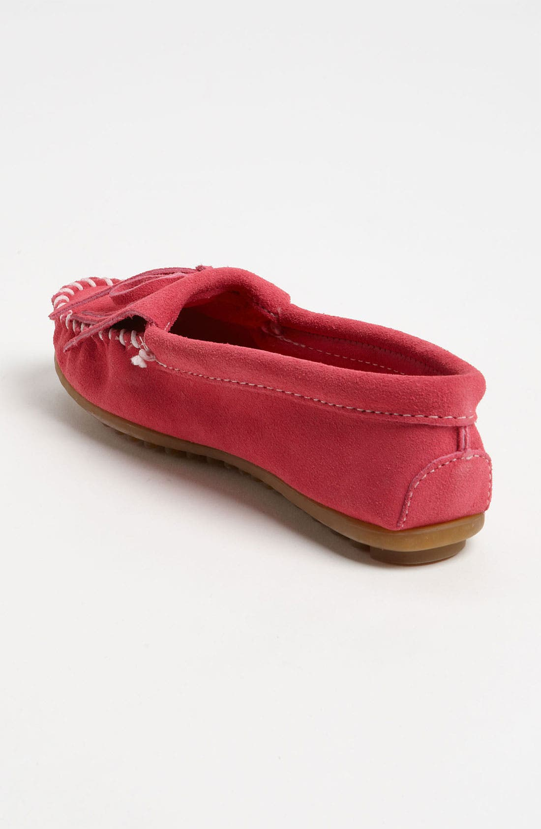 MINNETONKA, 'Kilty' Suede Moccasin, Alternate thumbnail 2, color, PINK