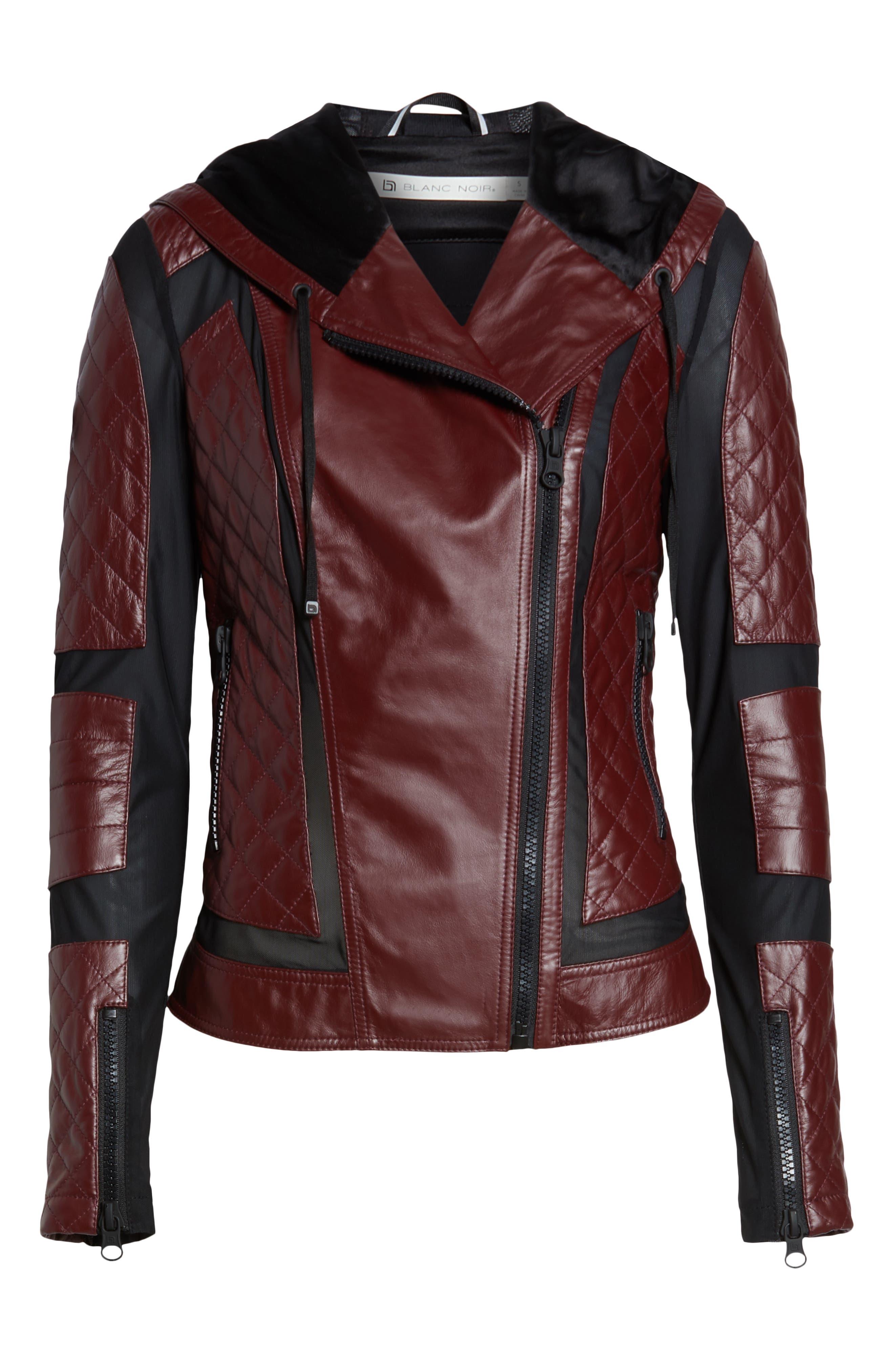 BLANC NOIR, Voyage Hooded Leather & Mesh Moto Jacket, Alternate thumbnail 6, color, 601