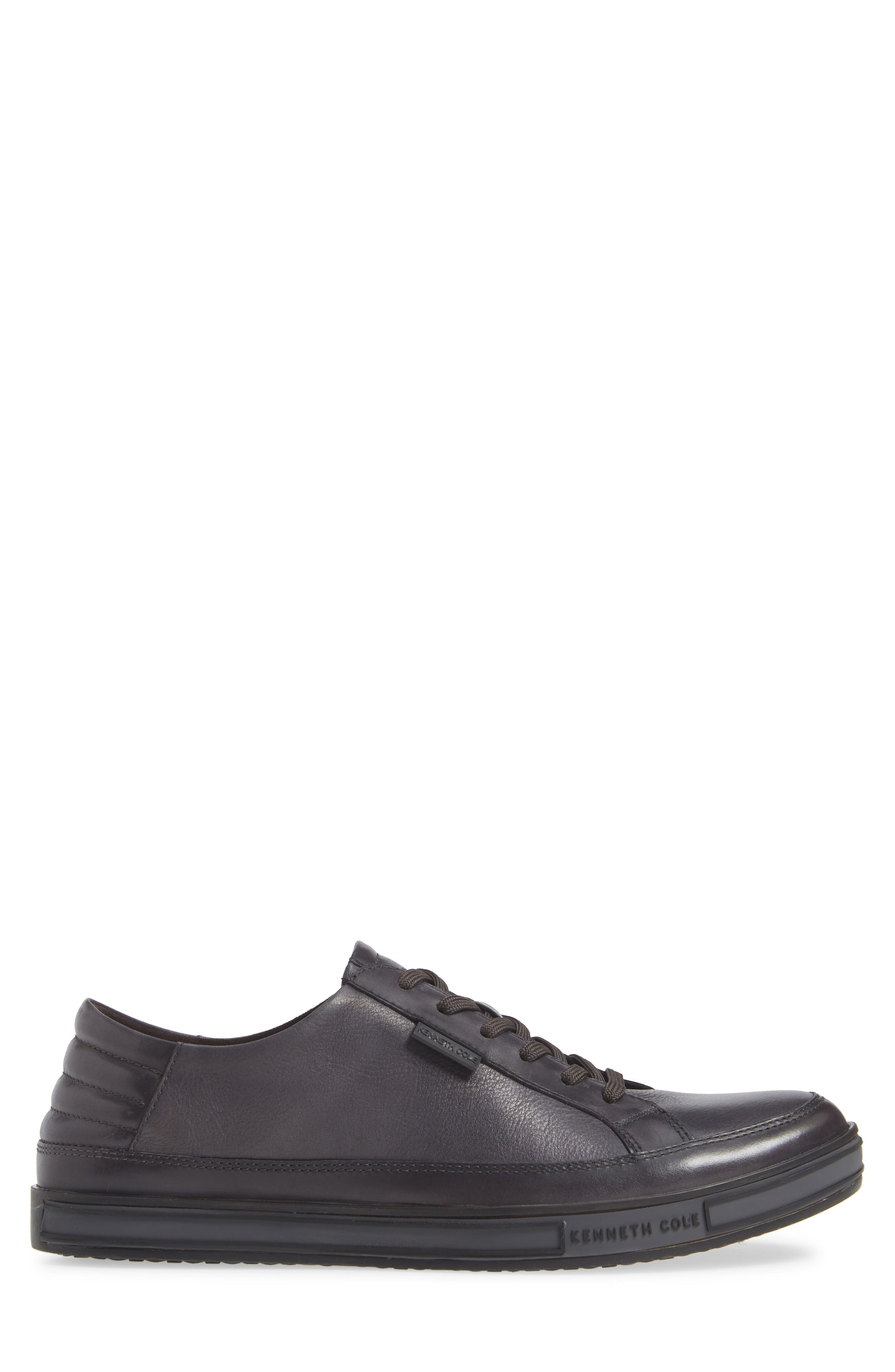 KENNETH COLE NEW YORK, Brand Stand Low Top Sneaker, Alternate thumbnail 3, color, GREY TUMBLED LEATHER/ LEATHER
