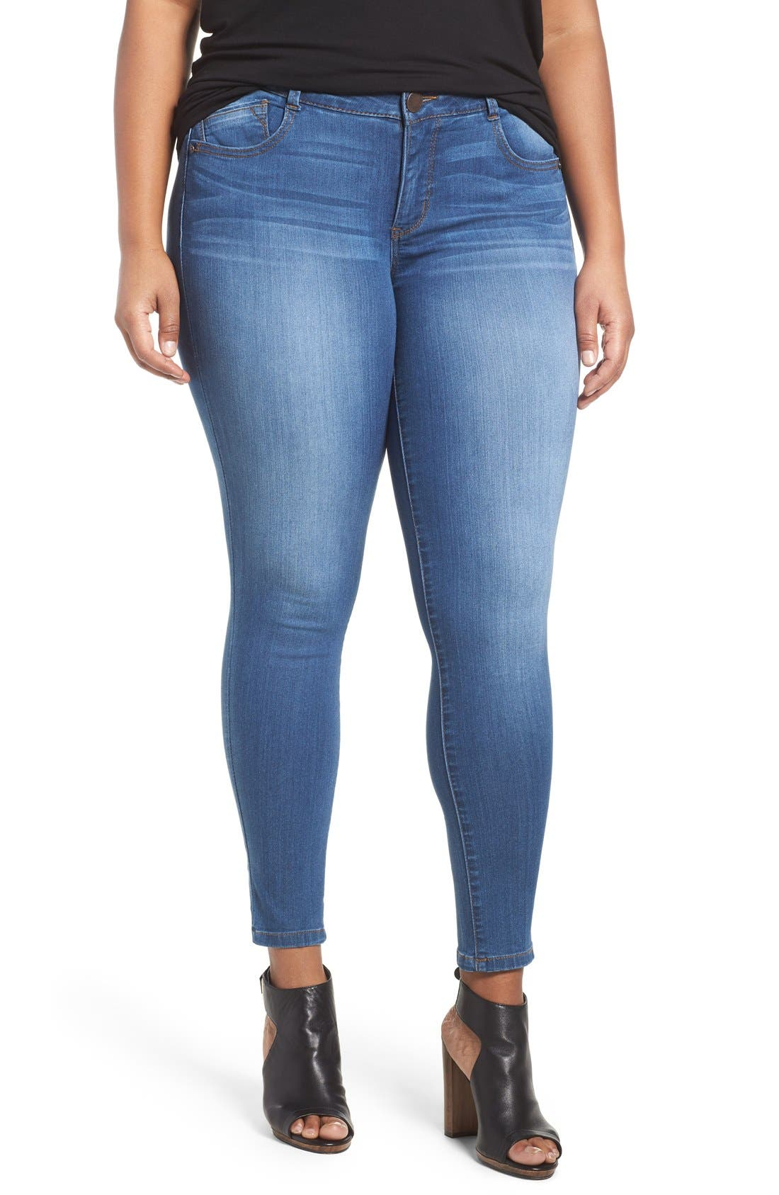 WIT & WISDOM, Ab-solution Stretch Skinny Jeans, Alternate thumbnail 6, color, BLUE