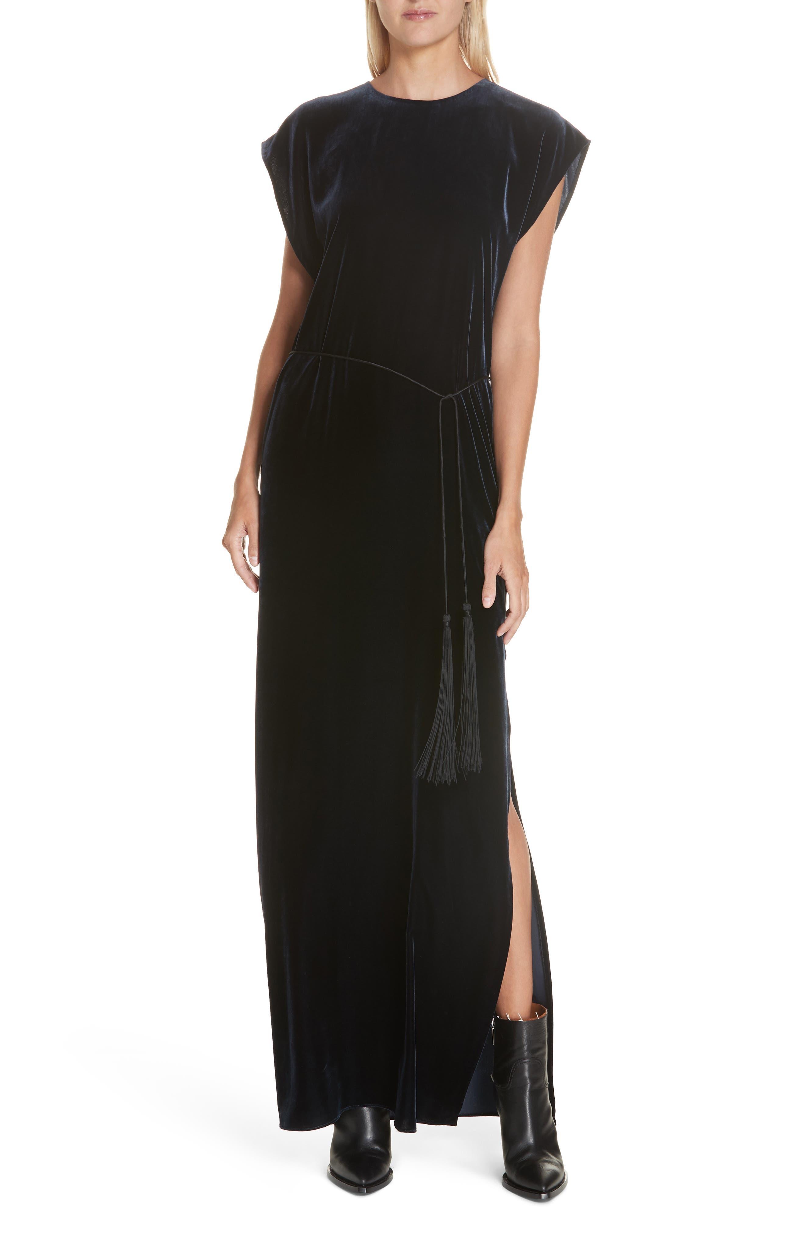 NILI LOTAN Lillian Velvet Dress, Main, color, DARK NAVY