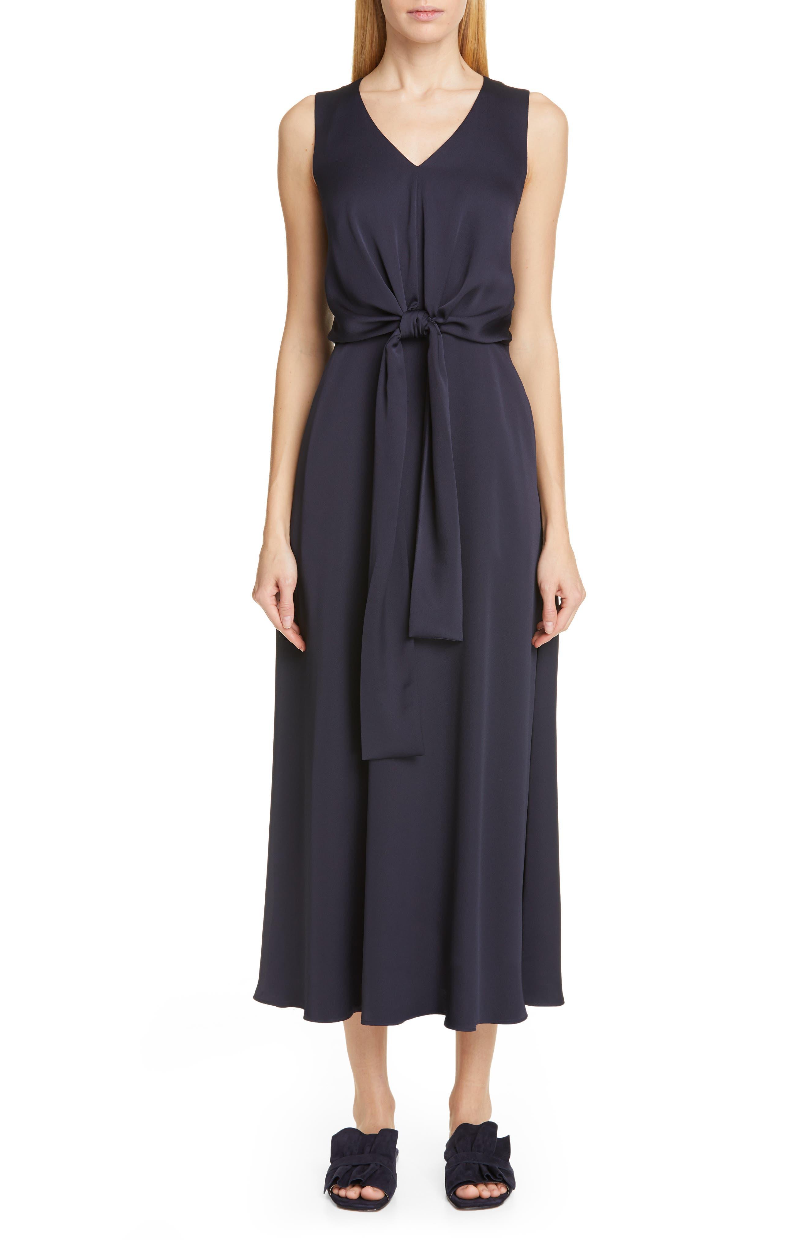 LAFAYETTE 148 NEW YORK Ambrosia Tie Waist Midi Dress, Main, color, INK