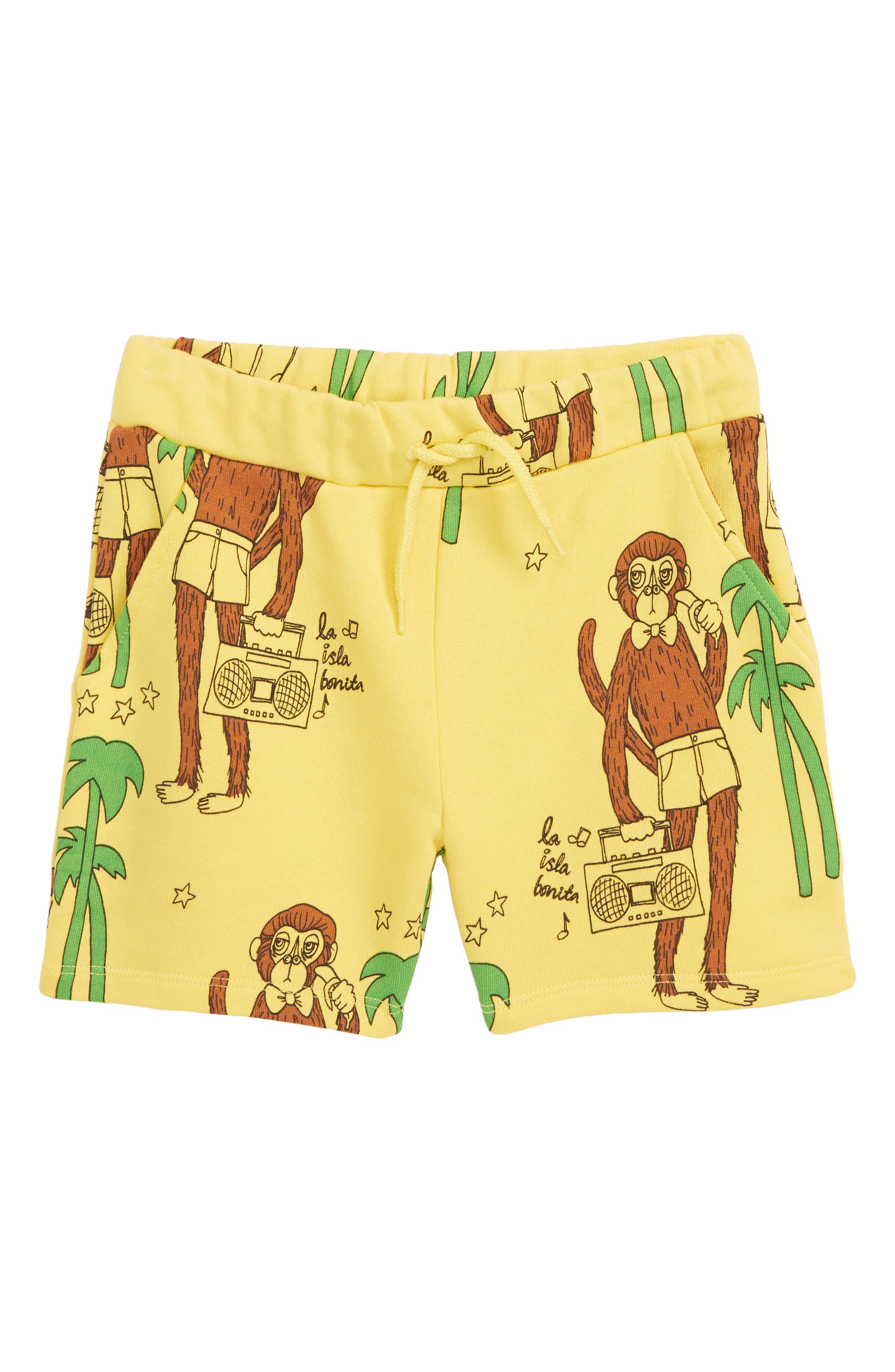 MINI RODINI, Cool Monkey Sweat Shorts, Main thumbnail 1, color, 700