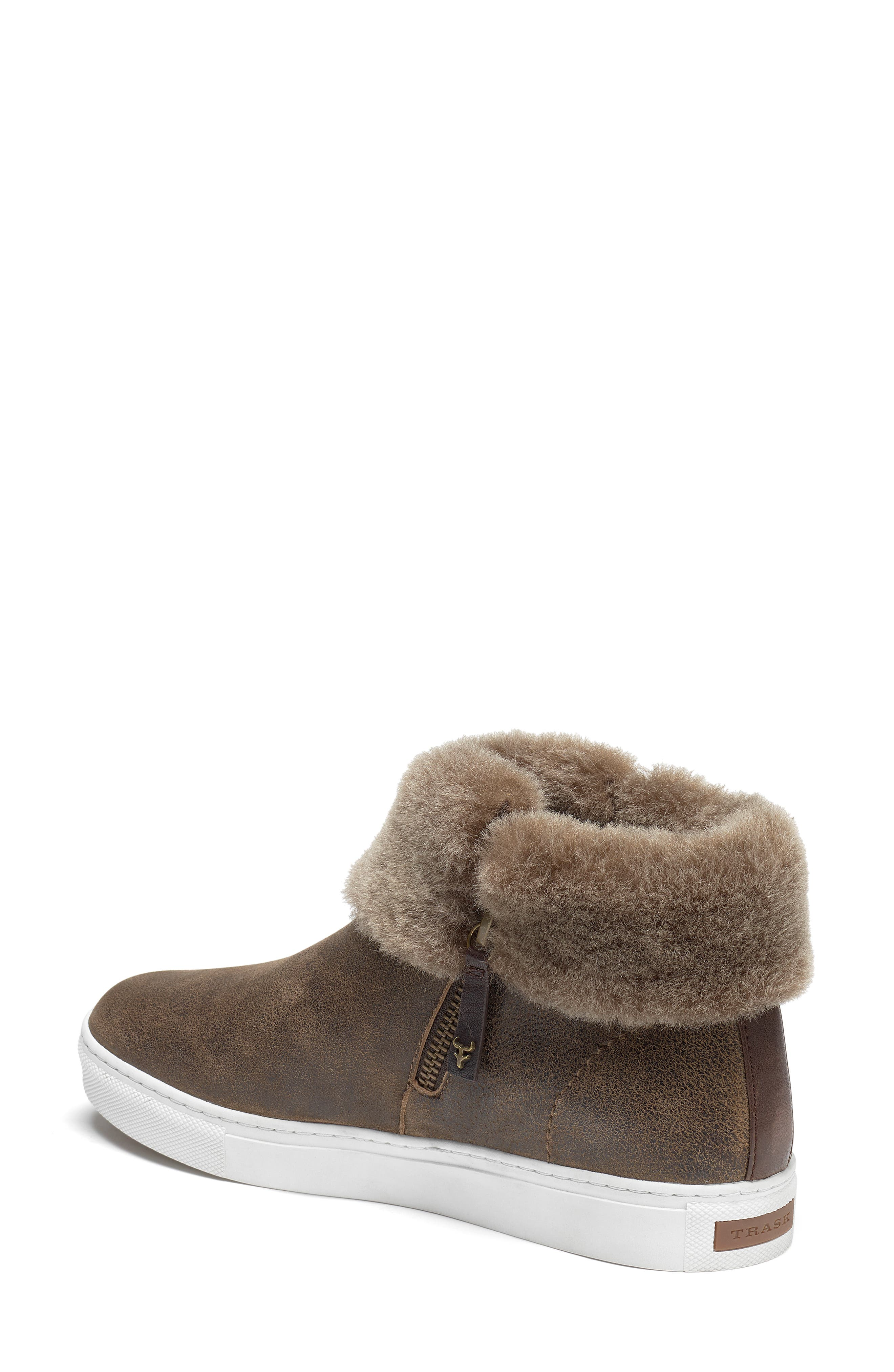 TRASK, Lexi Genuine Shearling Sneaker, Alternate thumbnail 2, color, BROWN LEATHER