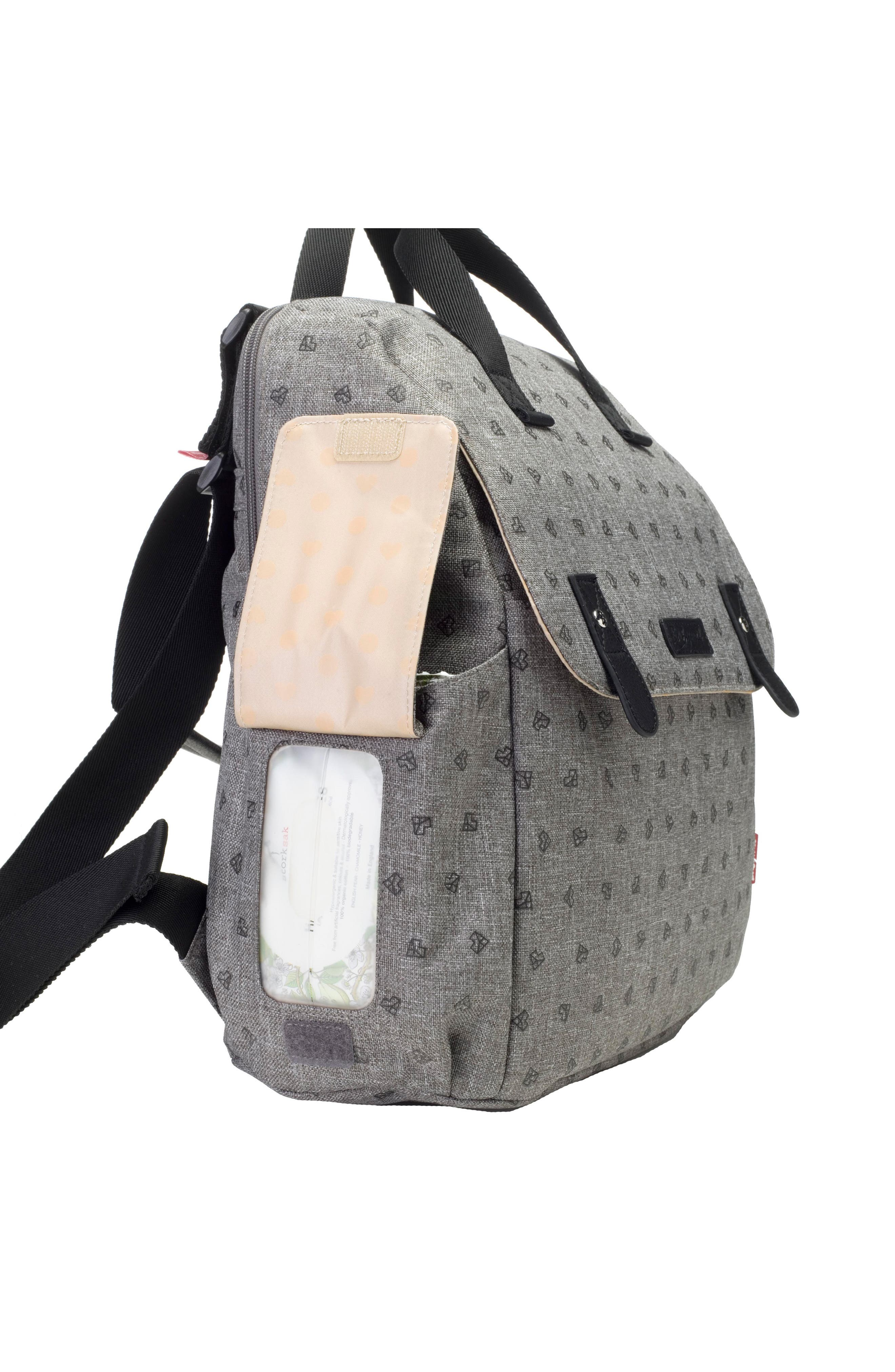 BABYMEL, Robyn Convertible Diaper Backpack, Alternate thumbnail 9, color, GREY ORIGAMI HEART
