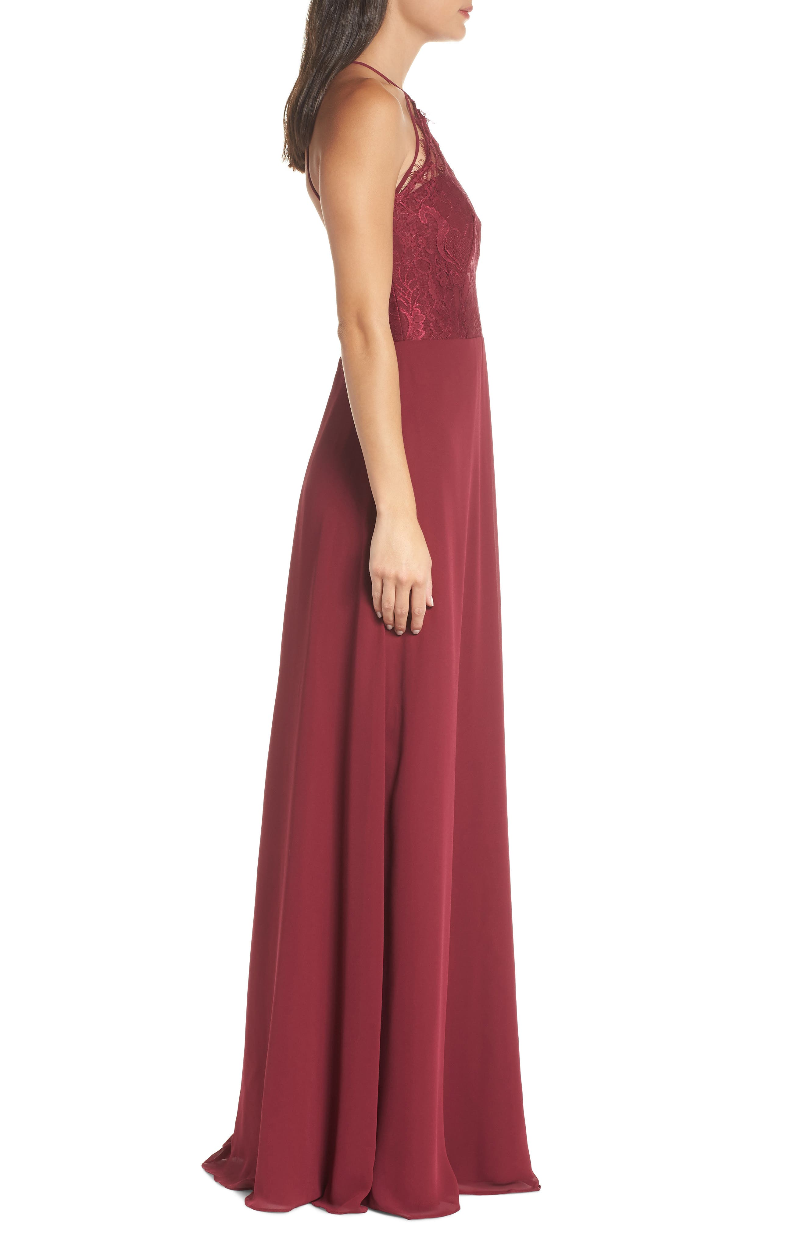 HAYLEY PAIGE OCCASIONS, Lace & Chiffon Halter Gown, Alternate thumbnail 4, color, BURGUNDY