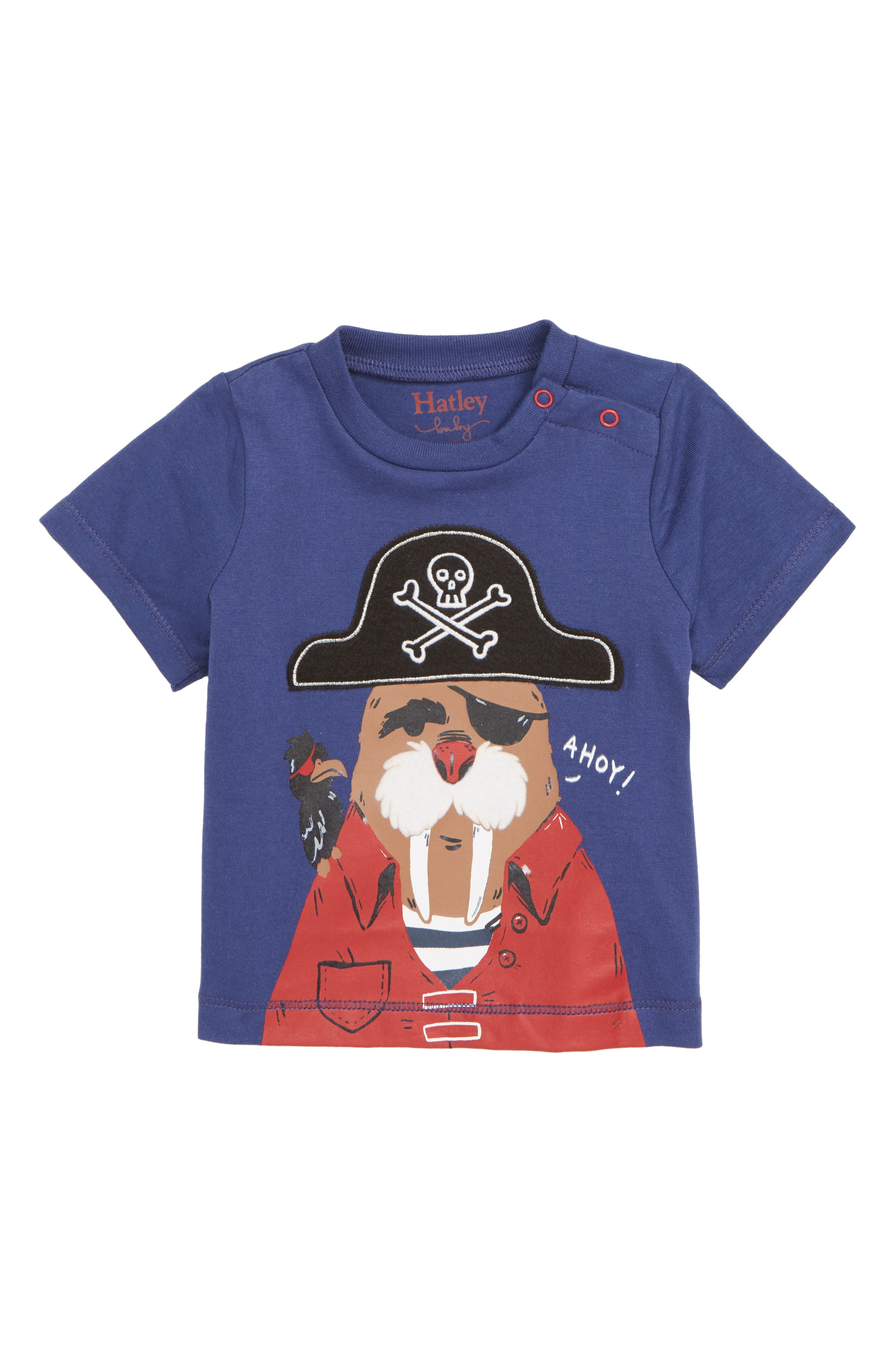 HATLEY, Captain Walrus Graphic T-Shirt, Main thumbnail 1, color, BLUE