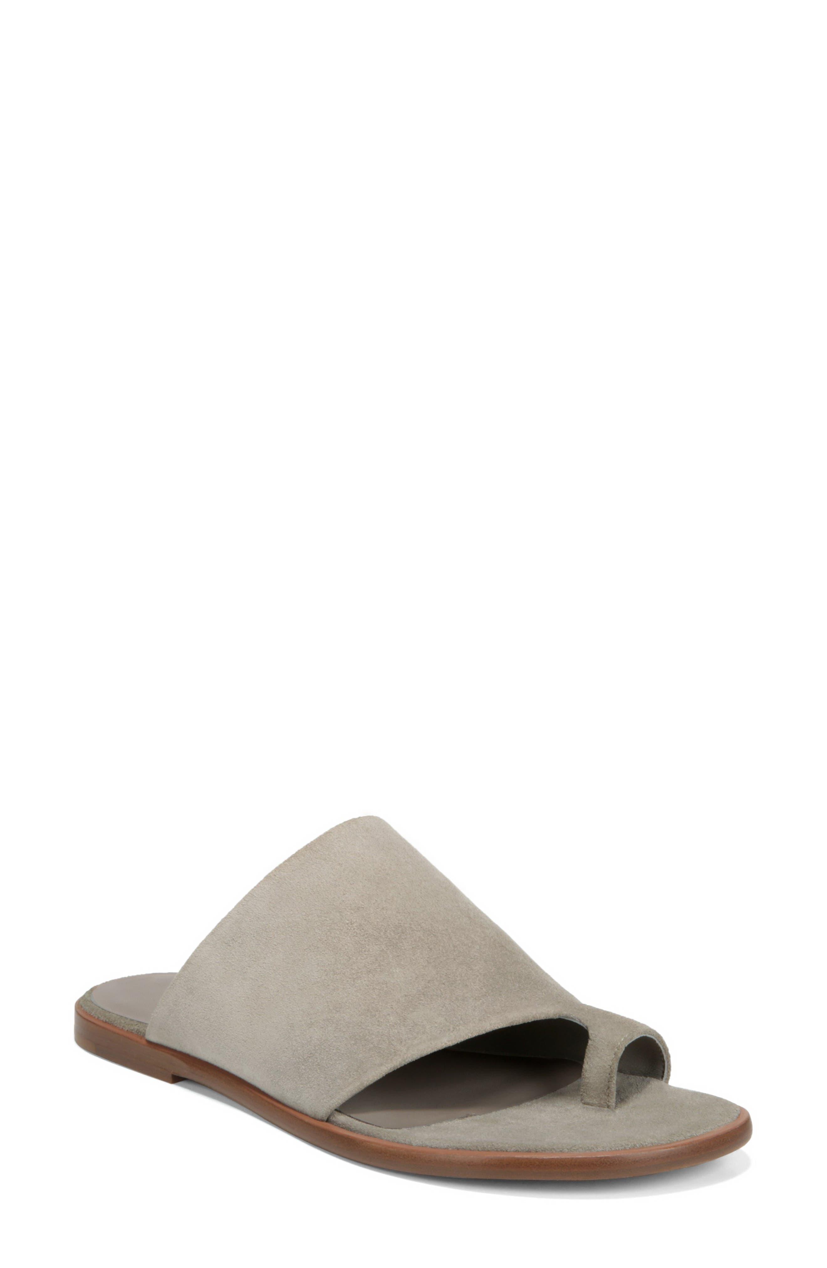 VINCE Edris Toe Loop Sandal, Main, color, LIGHT WOODSMOKE