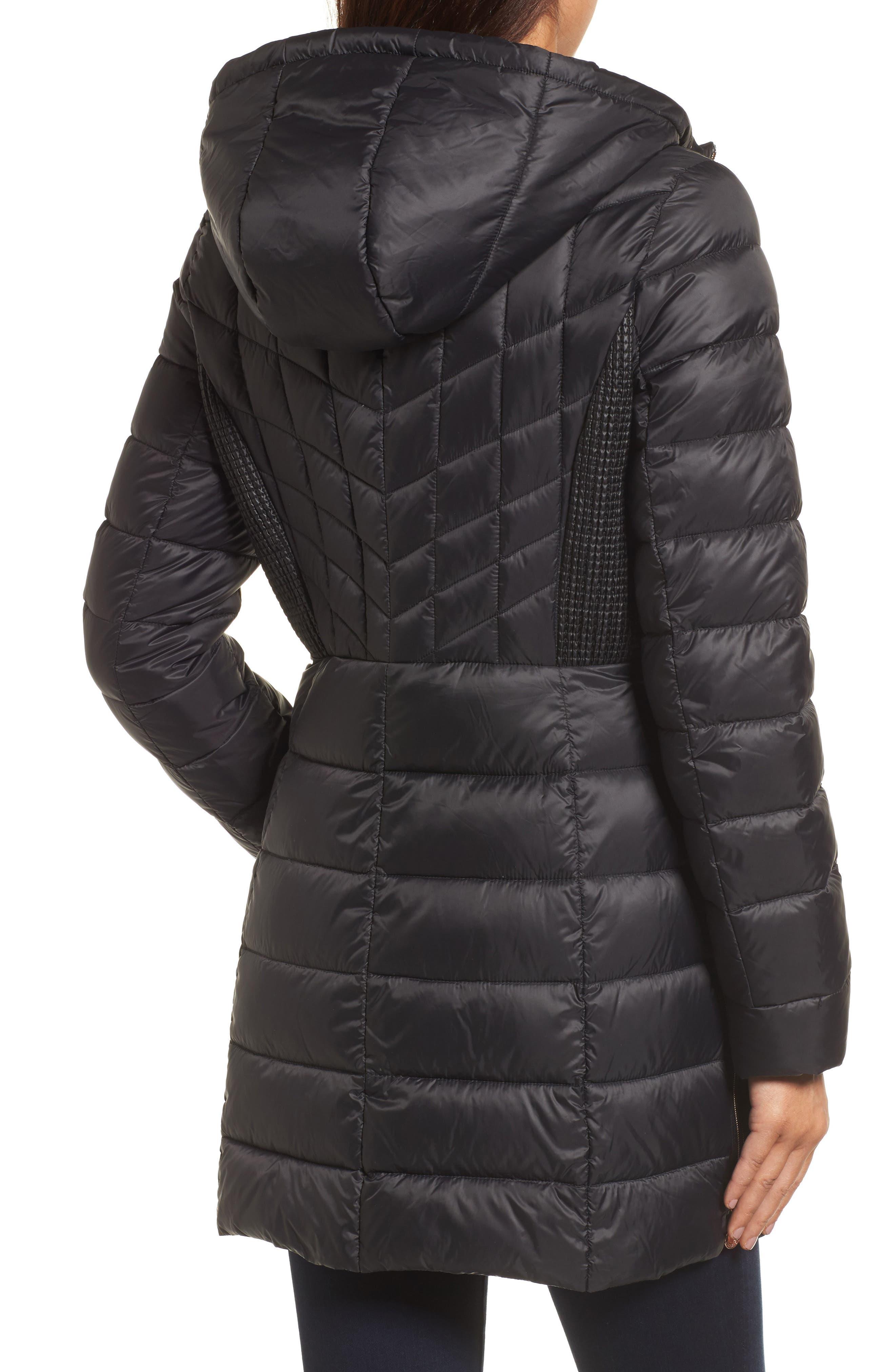 BERNARDO, Hooded Packable Down & PrimaLoft<sup>®</sup> Coat, Alternate thumbnail 2, color, BLACK