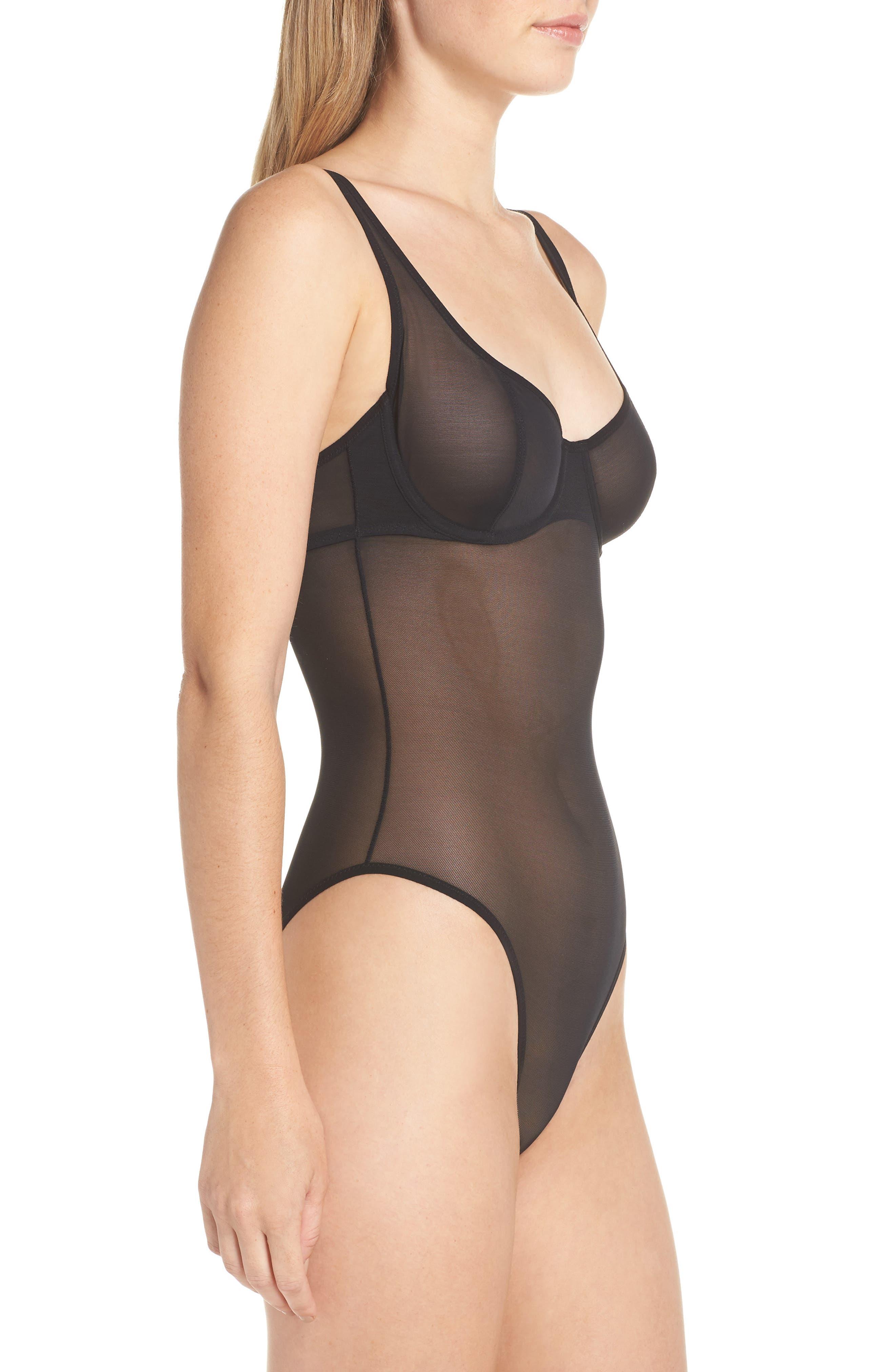 YUMMIE, Seductive Silhouette Bodysuit, Alternate thumbnail 3, color, 001