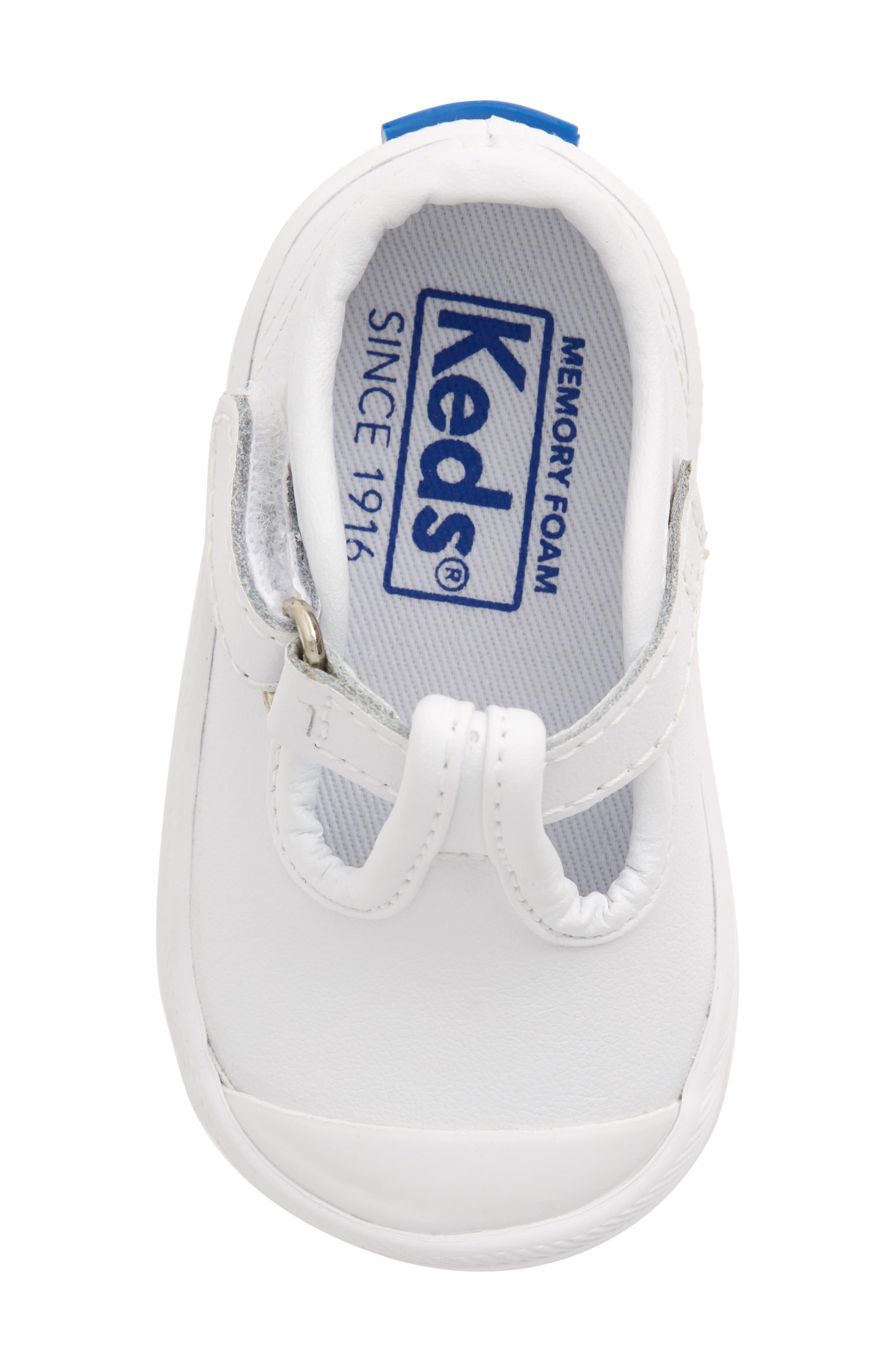 KEDS<SUP>®</SUP>, 'Champion' T-Strap Shoe, Alternate thumbnail 5, color, WHITE LEATHER