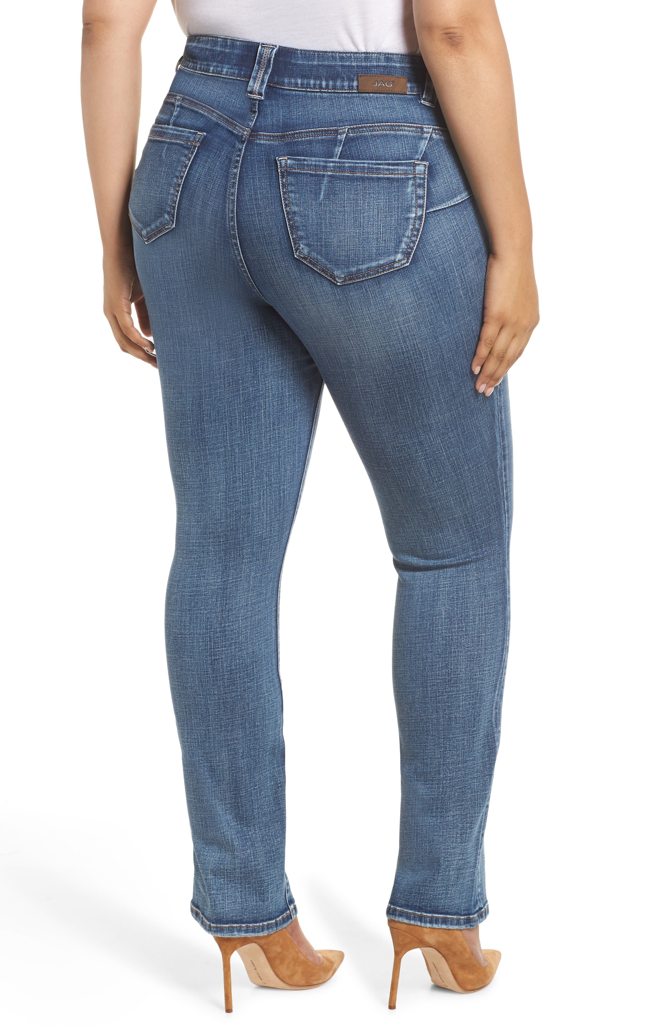 JAG JEANS, Eloise Bootcut Stretch Jeans, Alternate thumbnail 2, color, MED INDIGO