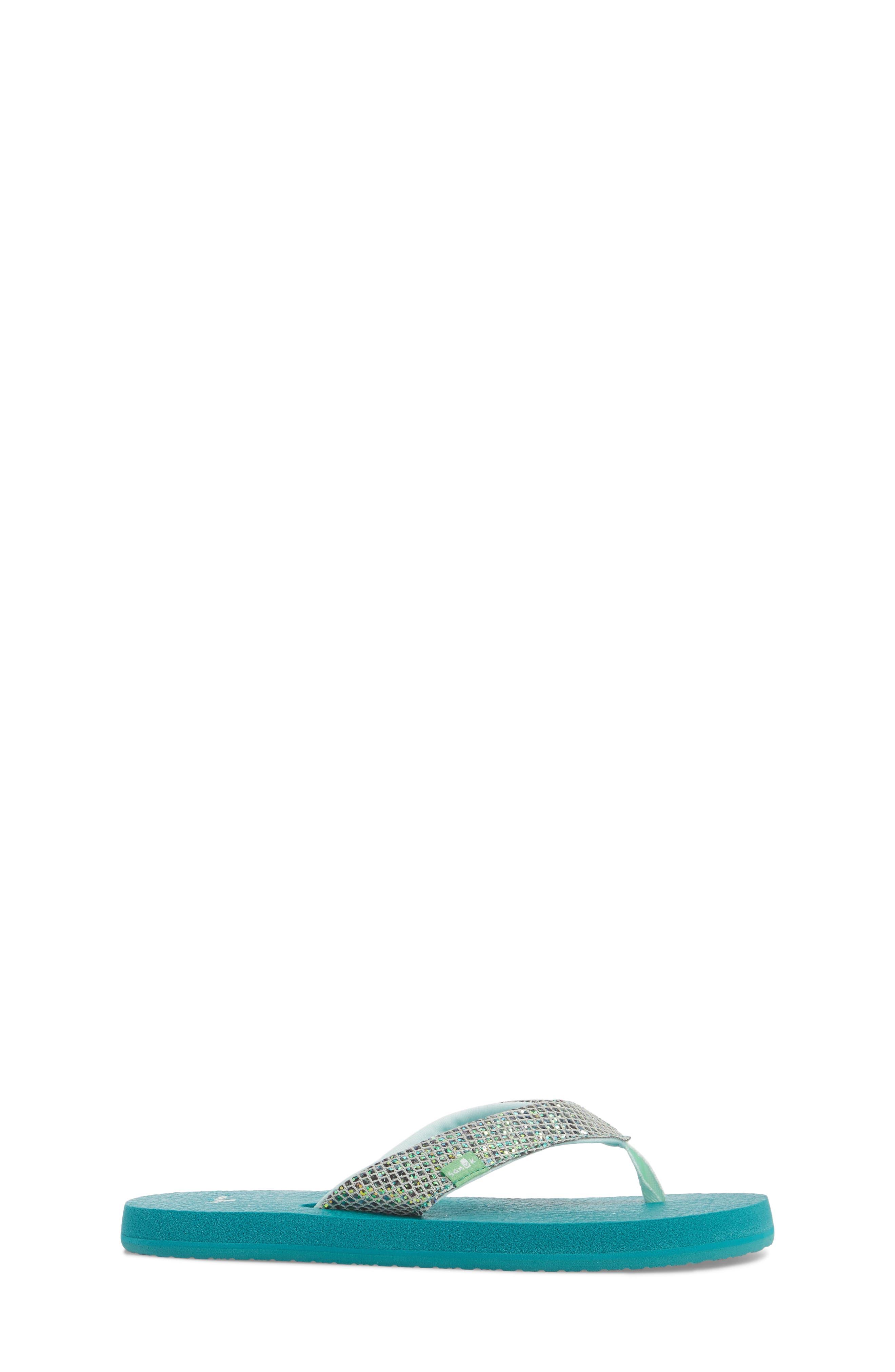 SANUK, 'Yoga' Glitter Sandal, Alternate thumbnail 3, color, SEA GREEN
