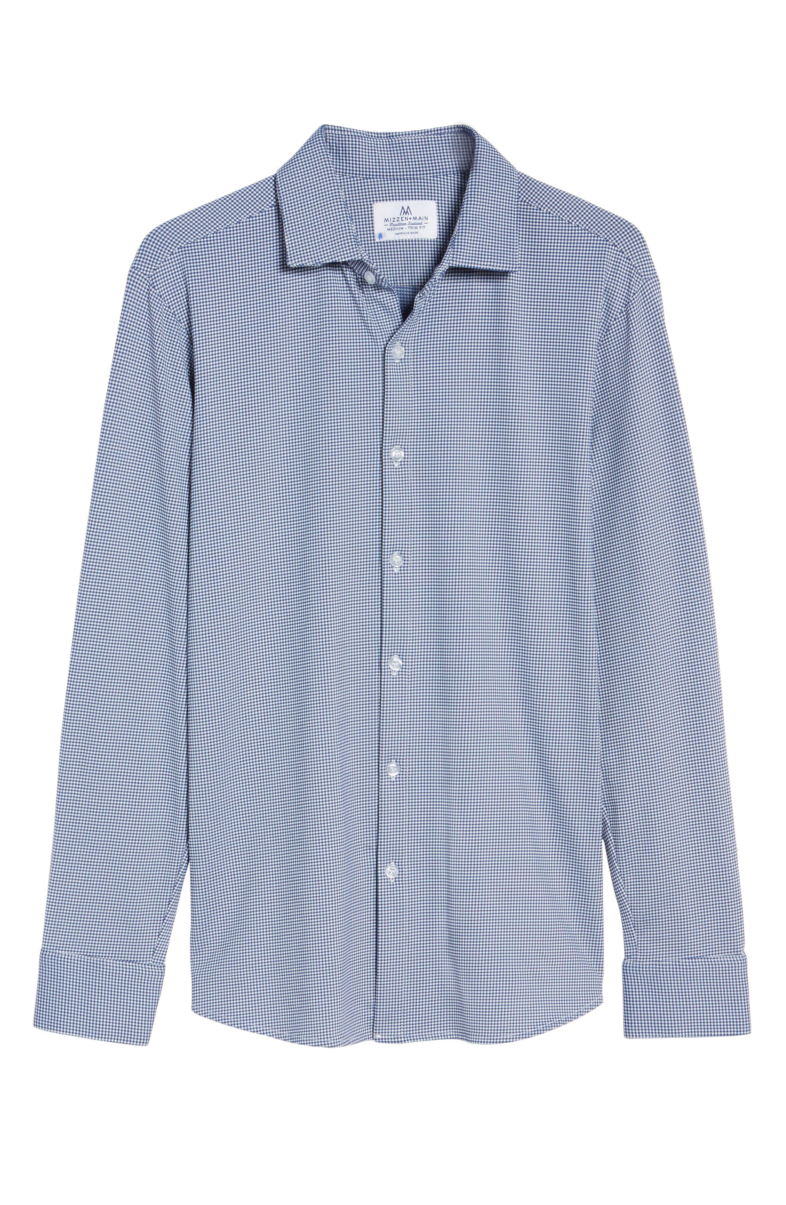 MIZZEN+MAIN, Beckett Trim Fit Gingham Sport Shirt, Alternate thumbnail 6, color, BLUE