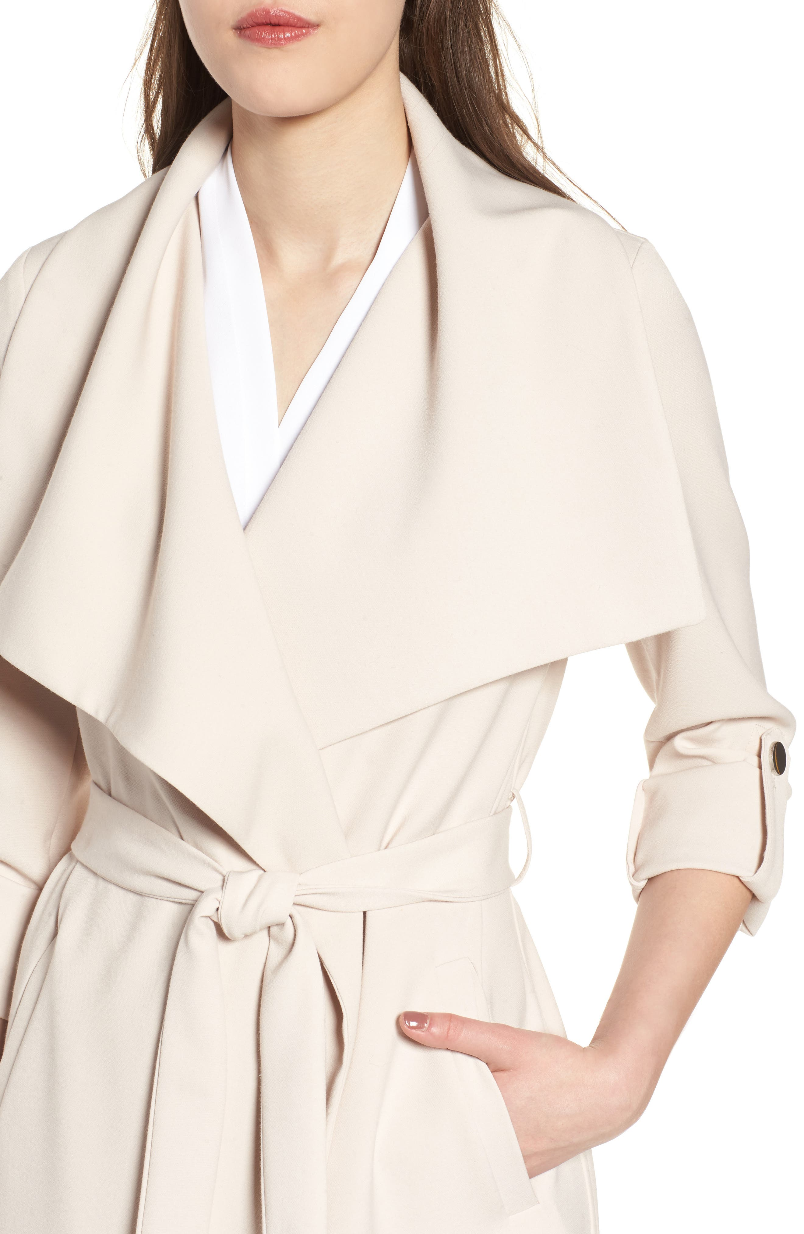 SOIA & KYO, Roll Sleeve Drape Front Long Trench Coat, Alternate thumbnail 4, color, 277