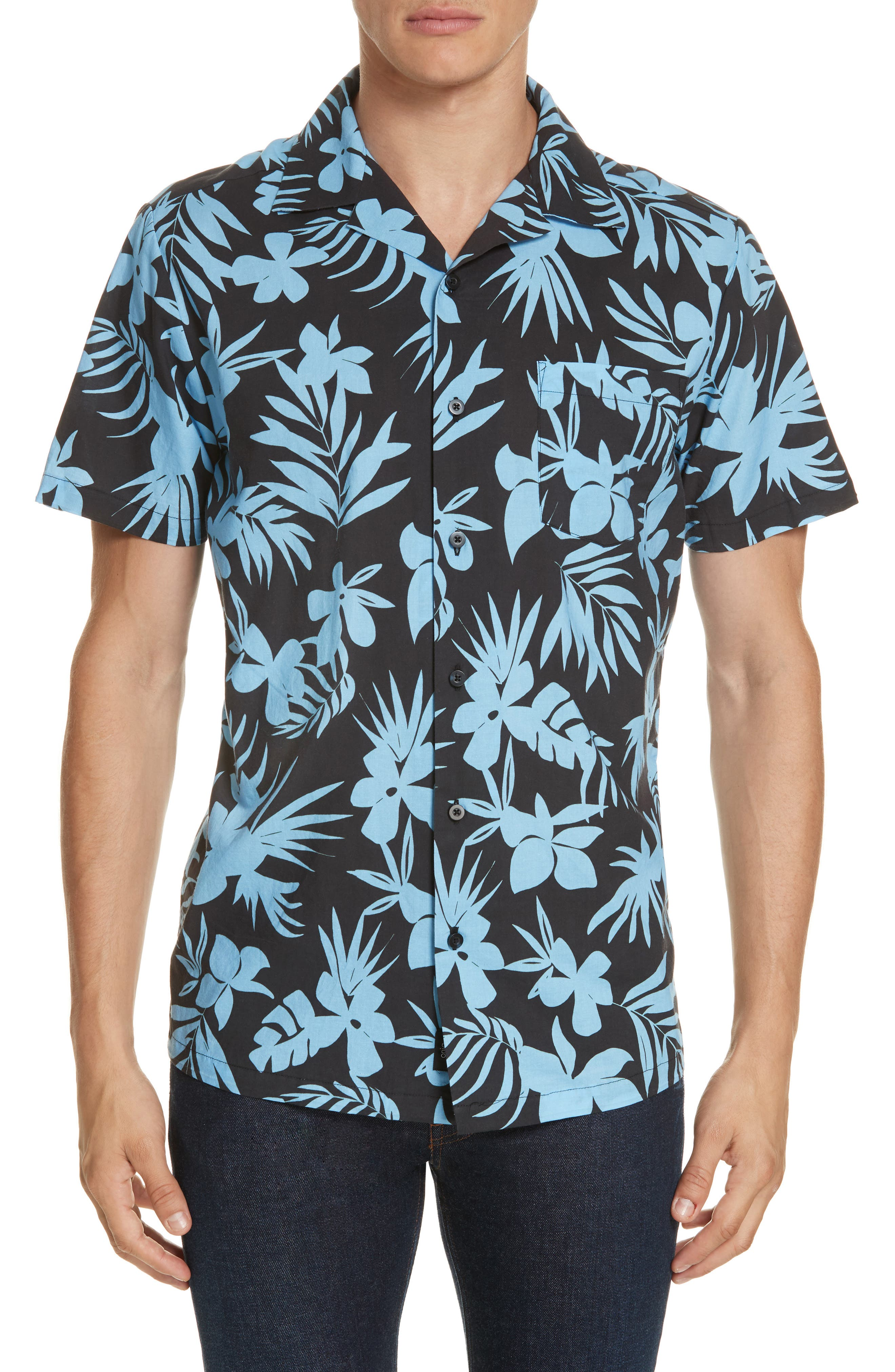 ONIA Hibiscus Print Camp Shirt, Main, color, BLACK