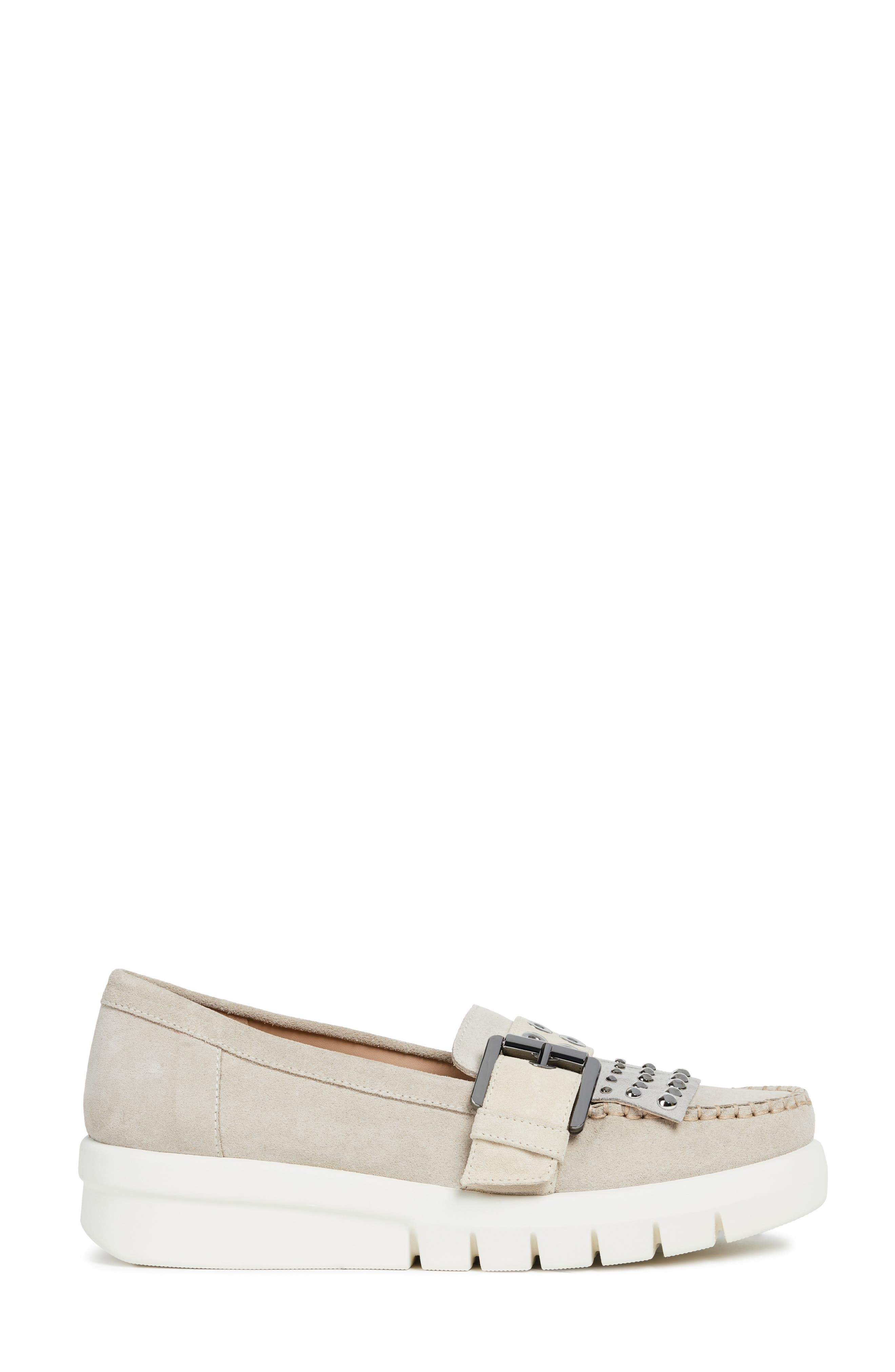 GEOX, Wimbley Studded Kiltie Loafer, Alternate thumbnail 3, color, LIGHT TAUPE/ GREY SUEDE