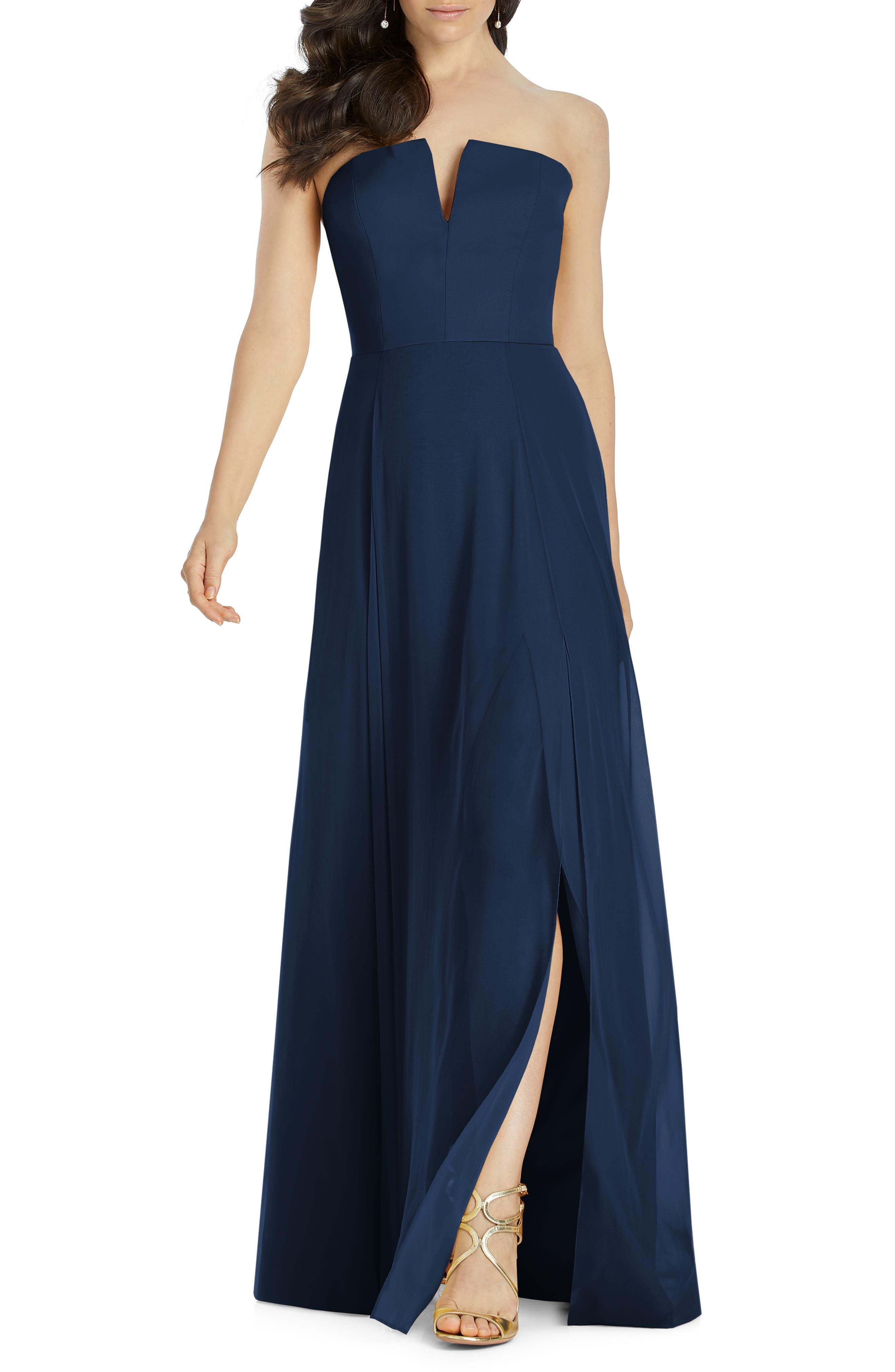 Dessy Collection Strapless Chiffon Evening Dress, Blue