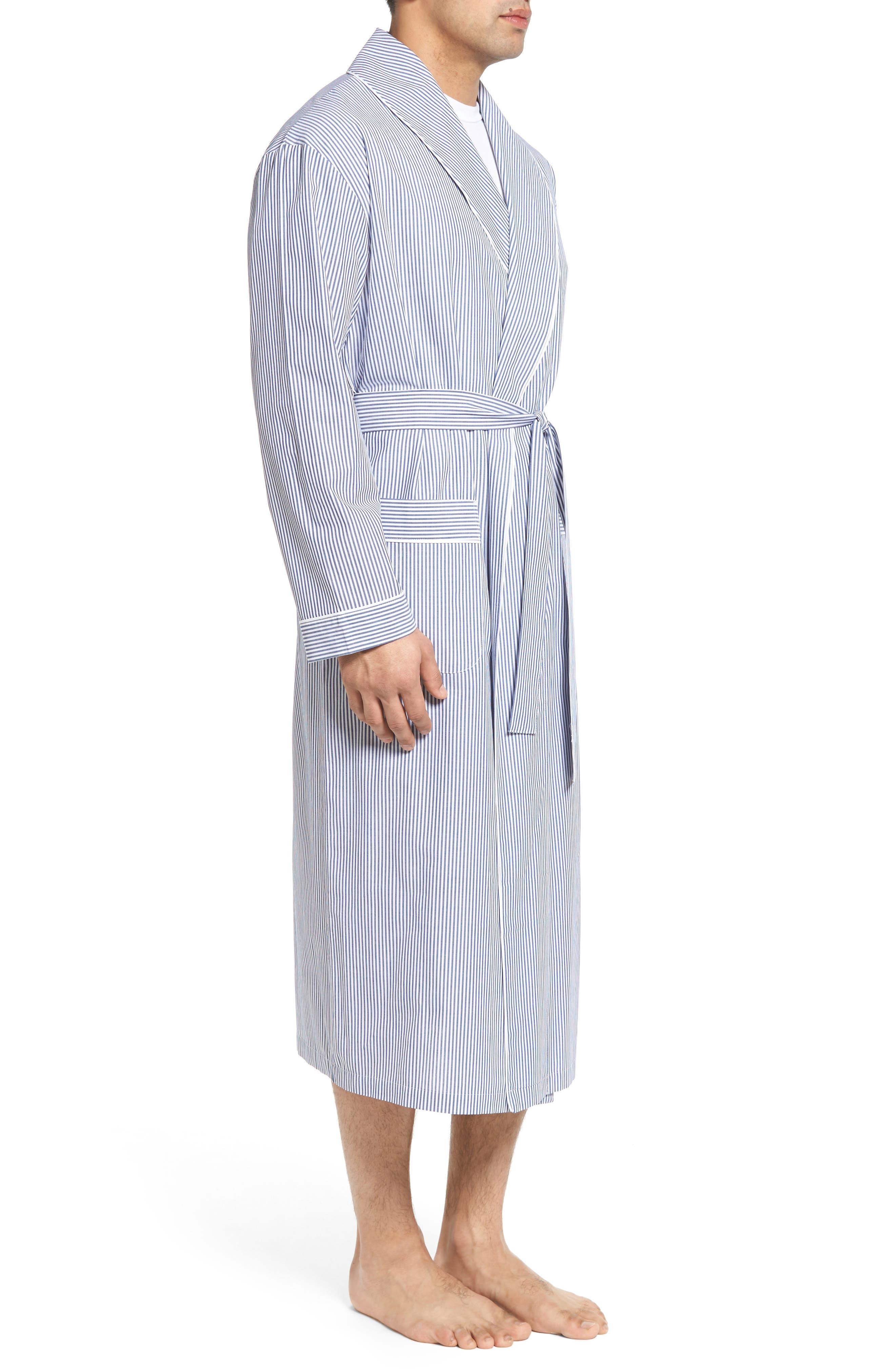 MAJESTIC INTERNATIONAL, Bengal Stripe Robe, Alternate thumbnail 3, color, NAVY/ WHITE