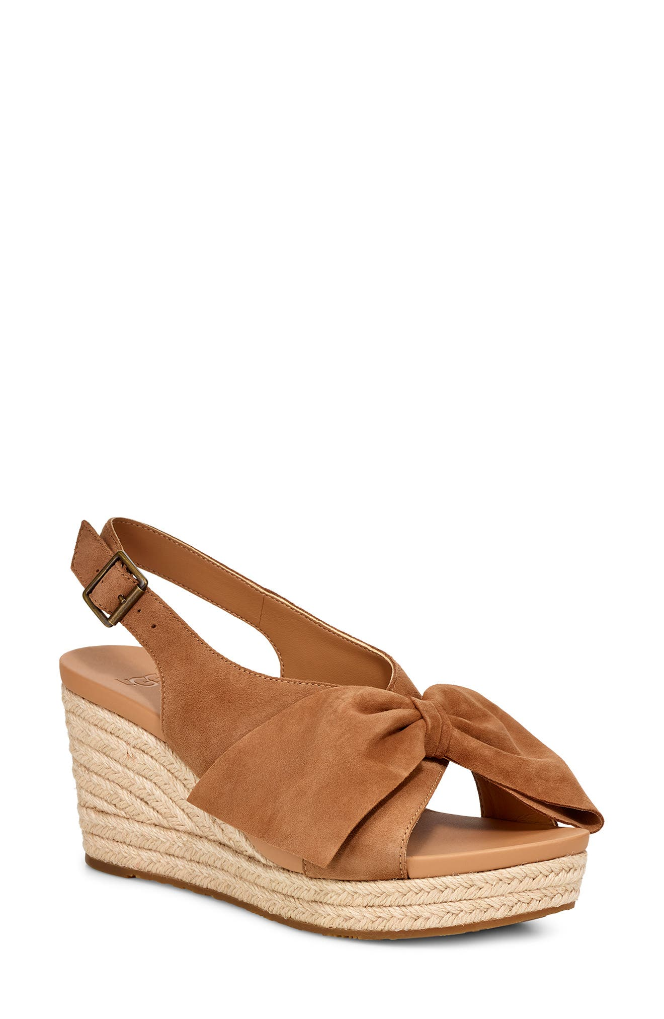 UGG<SUP>®</SUP>, Camilla Wedge Sandal, Main thumbnail 1, color, CHESTNUT SUEDE