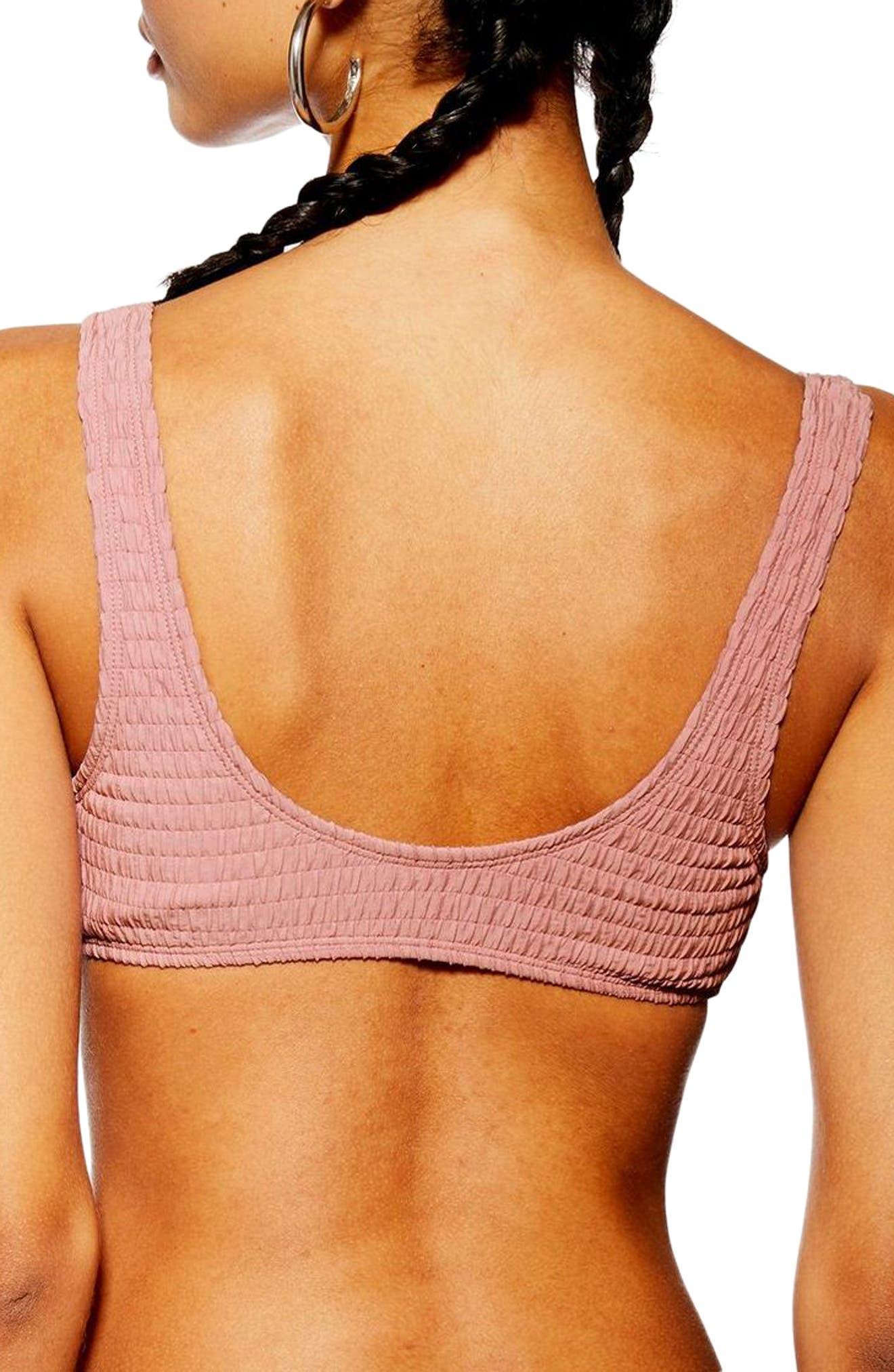 TOPSHOP, Tortoiseshell Ring Smocked Bikini Top, Alternate thumbnail 2, color, DUSTY PINK