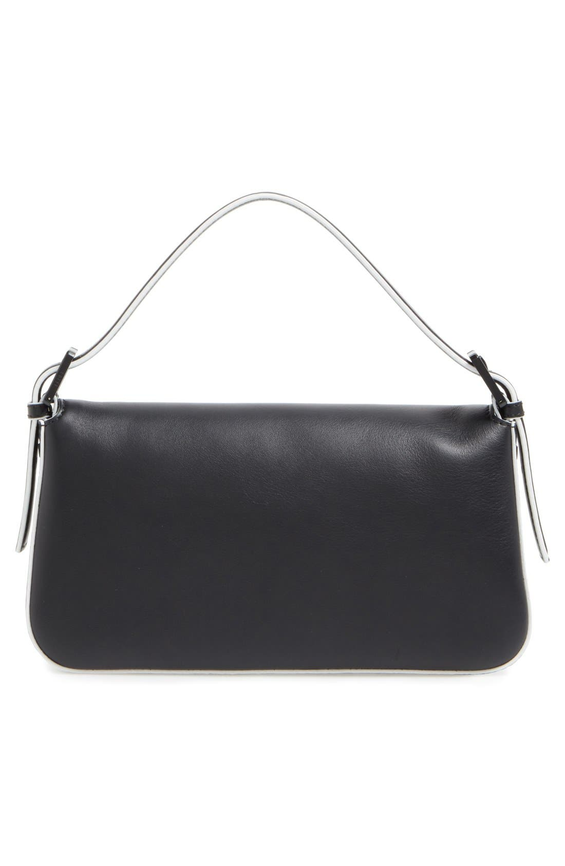 FENDI, 'Mini Monster' Leather Baguette, Alternate thumbnail 3, color, 001